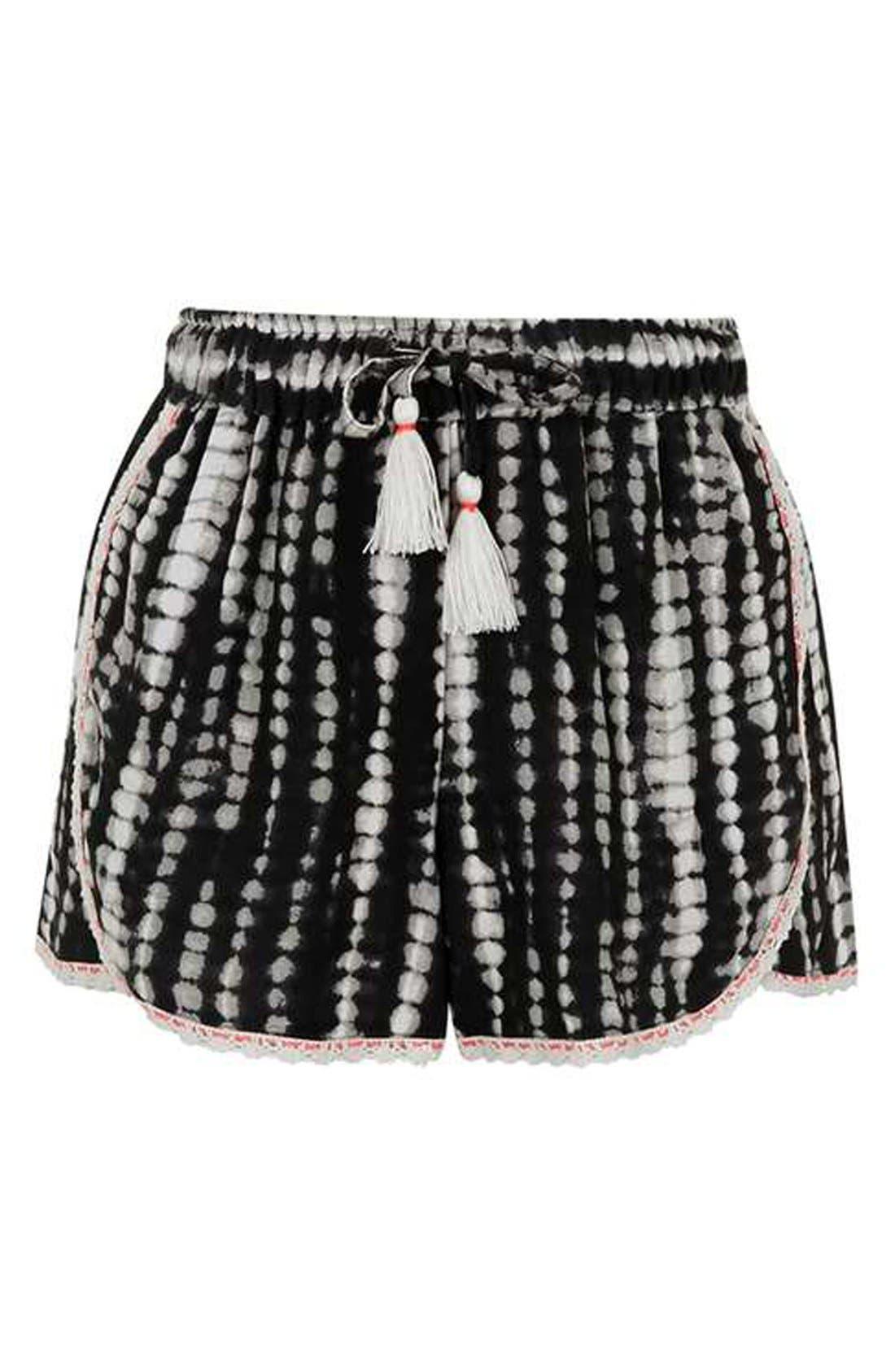 Alternate Image 5  - Topshop Crochet Trim Tie-Dye Shorts (Regular & Petite)