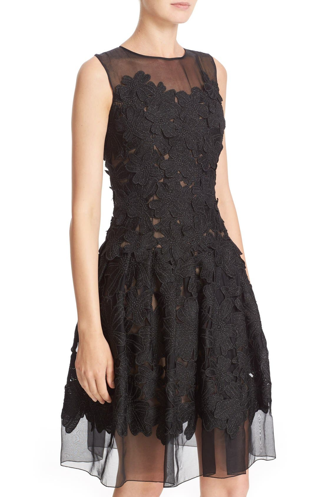 Alternate Image 4  - Carmen Marc Valvo Couture Floral Appliqué Sleeveless Organza Dress