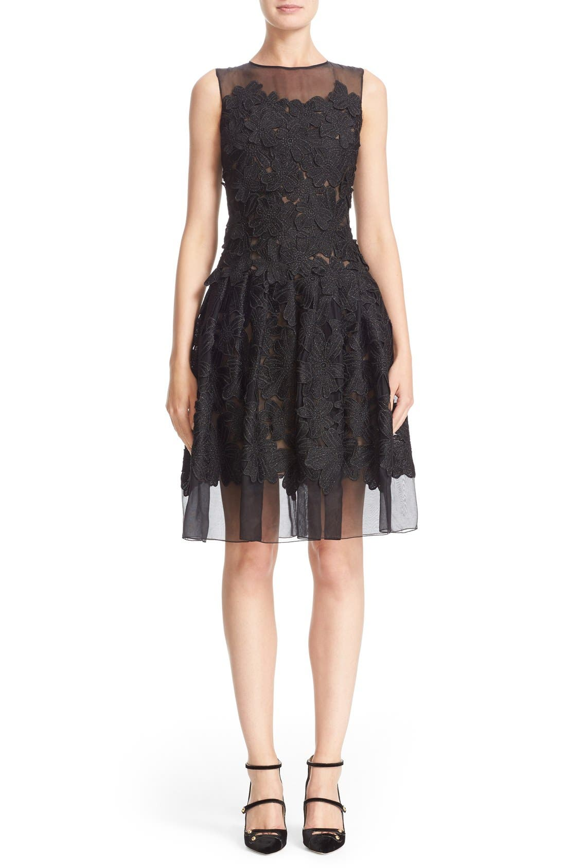 Carmen Marc Valvo Couture Floral Appliqué Sleeveless Organza Dress