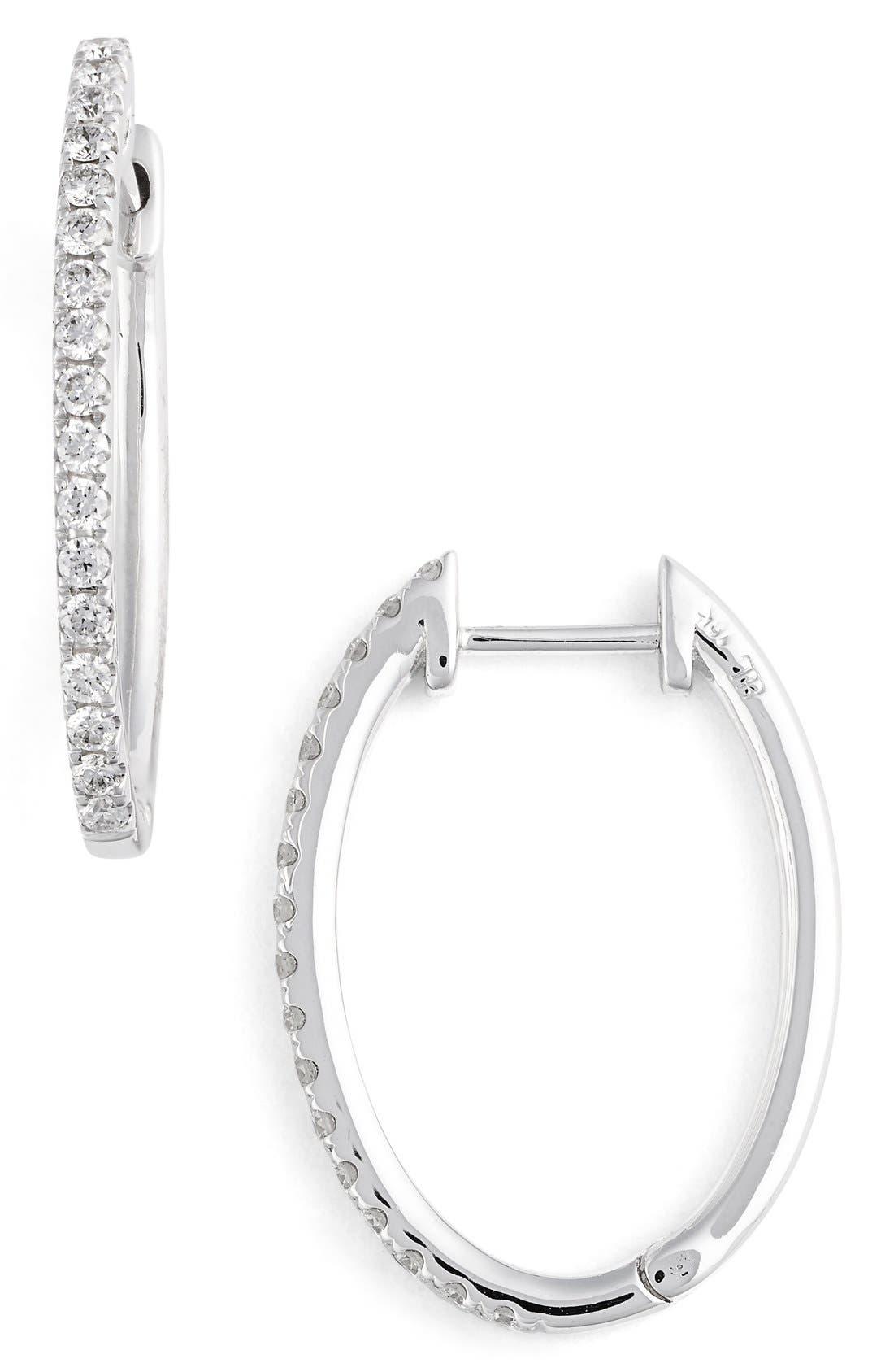 Main Image - Bony Levy Oval Hoop Diamond Earrings (Nordstrom Exclusive)