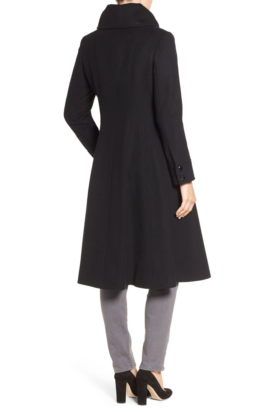 High Neck Wool Blend Long Coat,                             Alternate thumbnail 2, color,                             Black