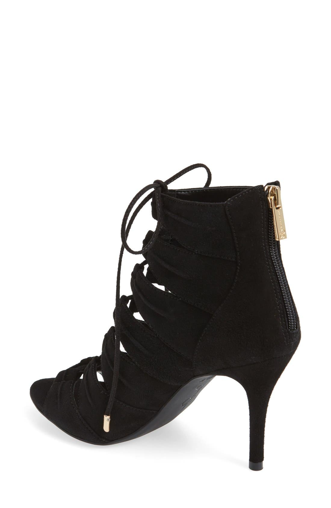 'Mahiri' Ghillie Open Toe Bootie,                             Alternate thumbnail 2, color,                             Black Suede