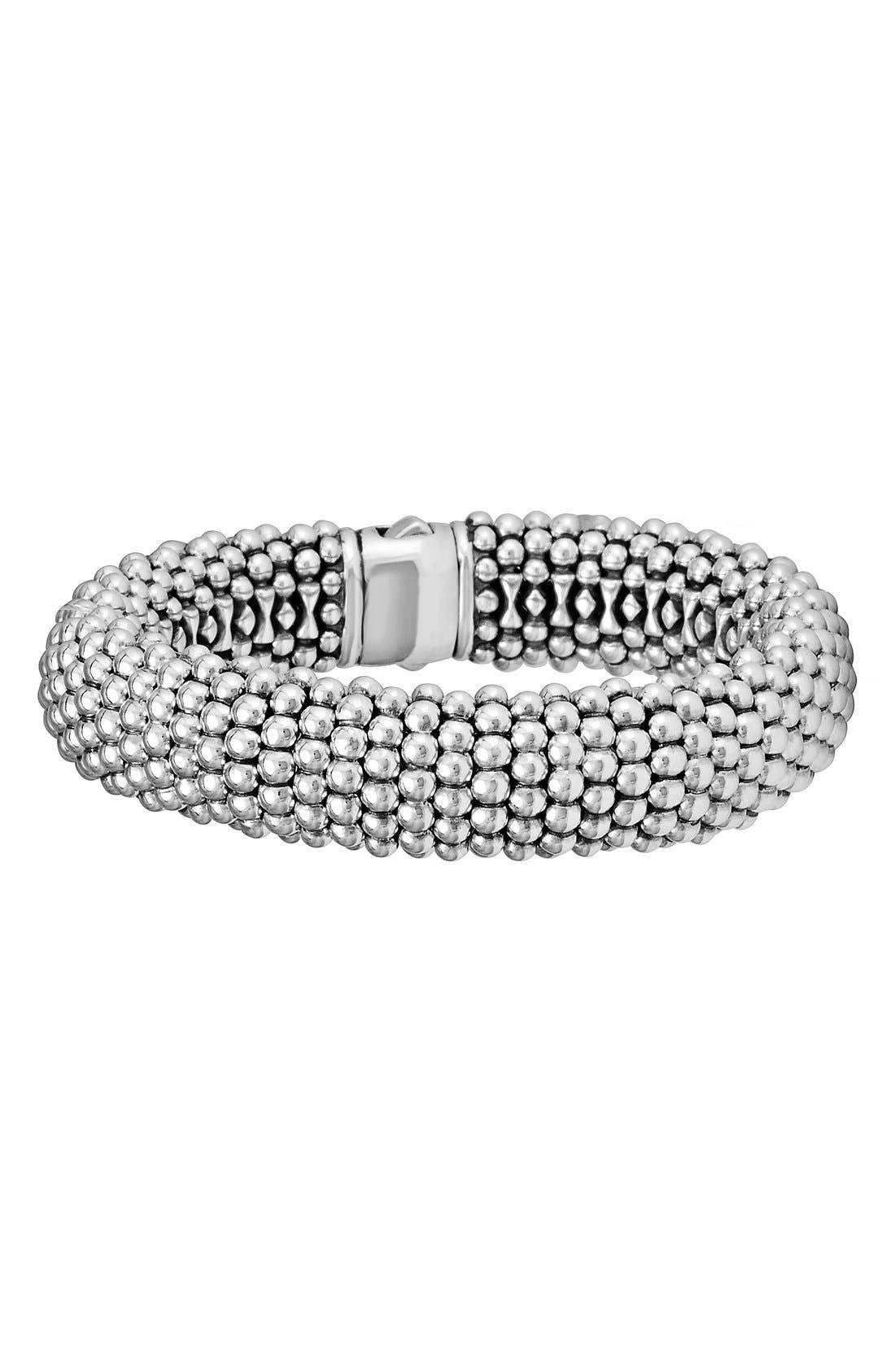 Signature Caviar Wide Rope Bracelet,                         Main,                         color, Silver/ Gold