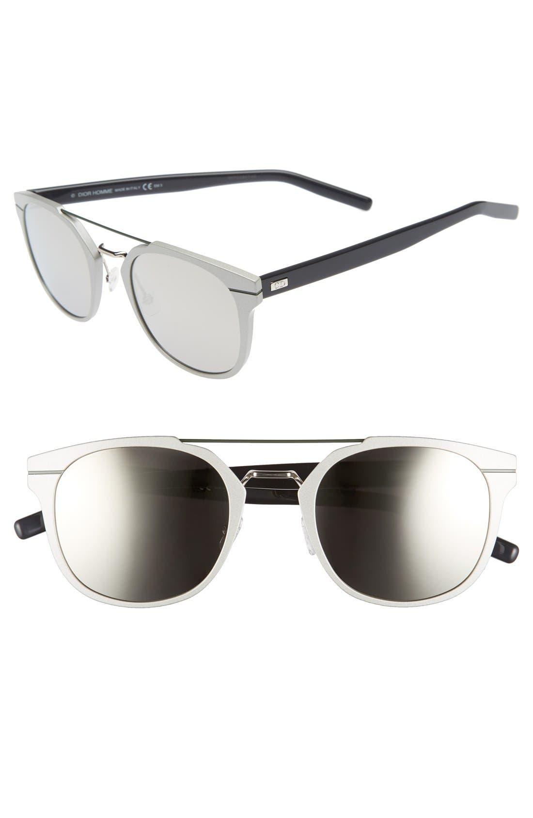 'AL 13.5S' 52mm Sunglasses,                         Main,                         color, Metallic Silver/ Blue