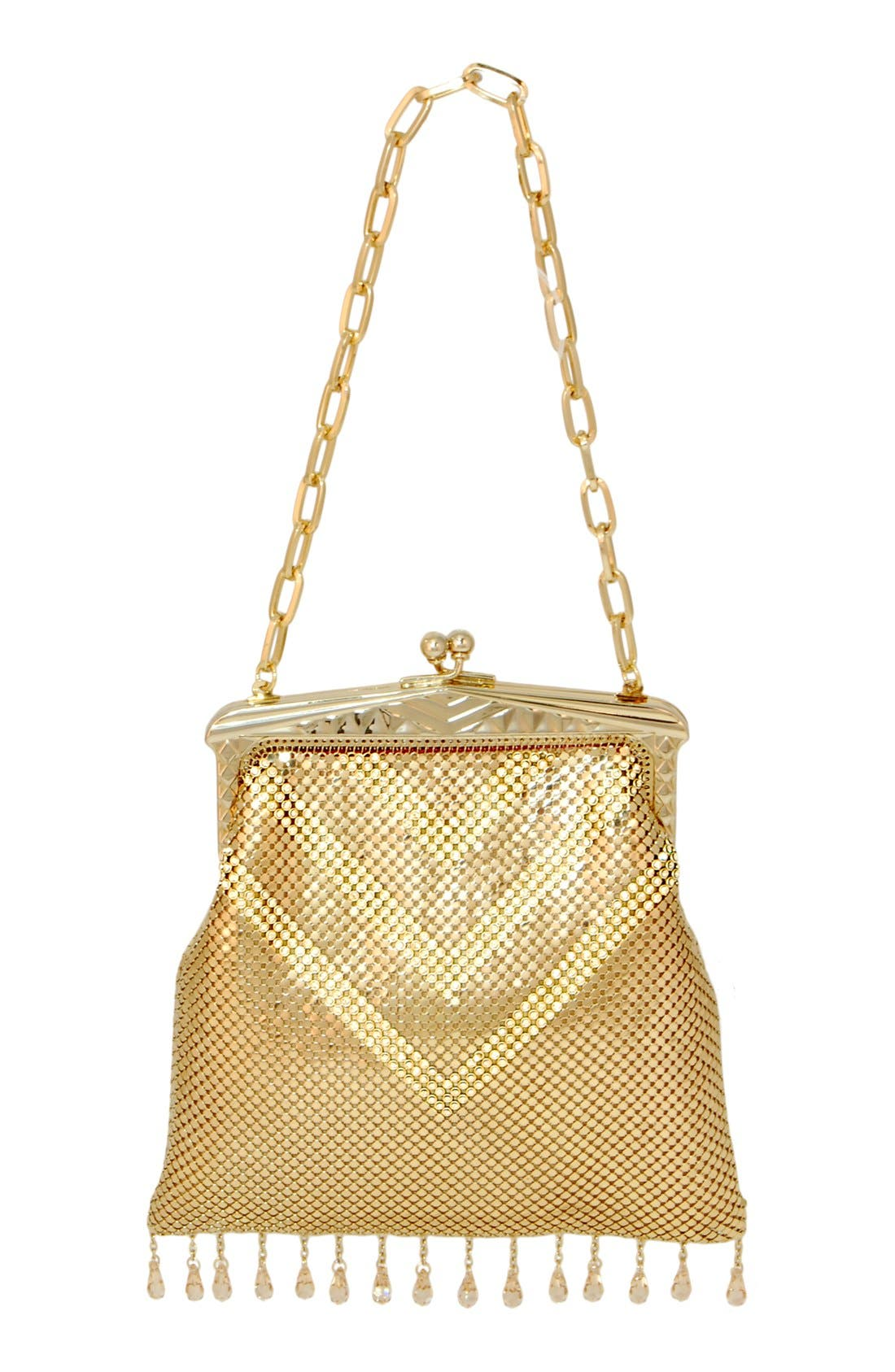 'Heritage - Deco' Mesh Clutch,                             Main thumbnail 1, color,                             Gold