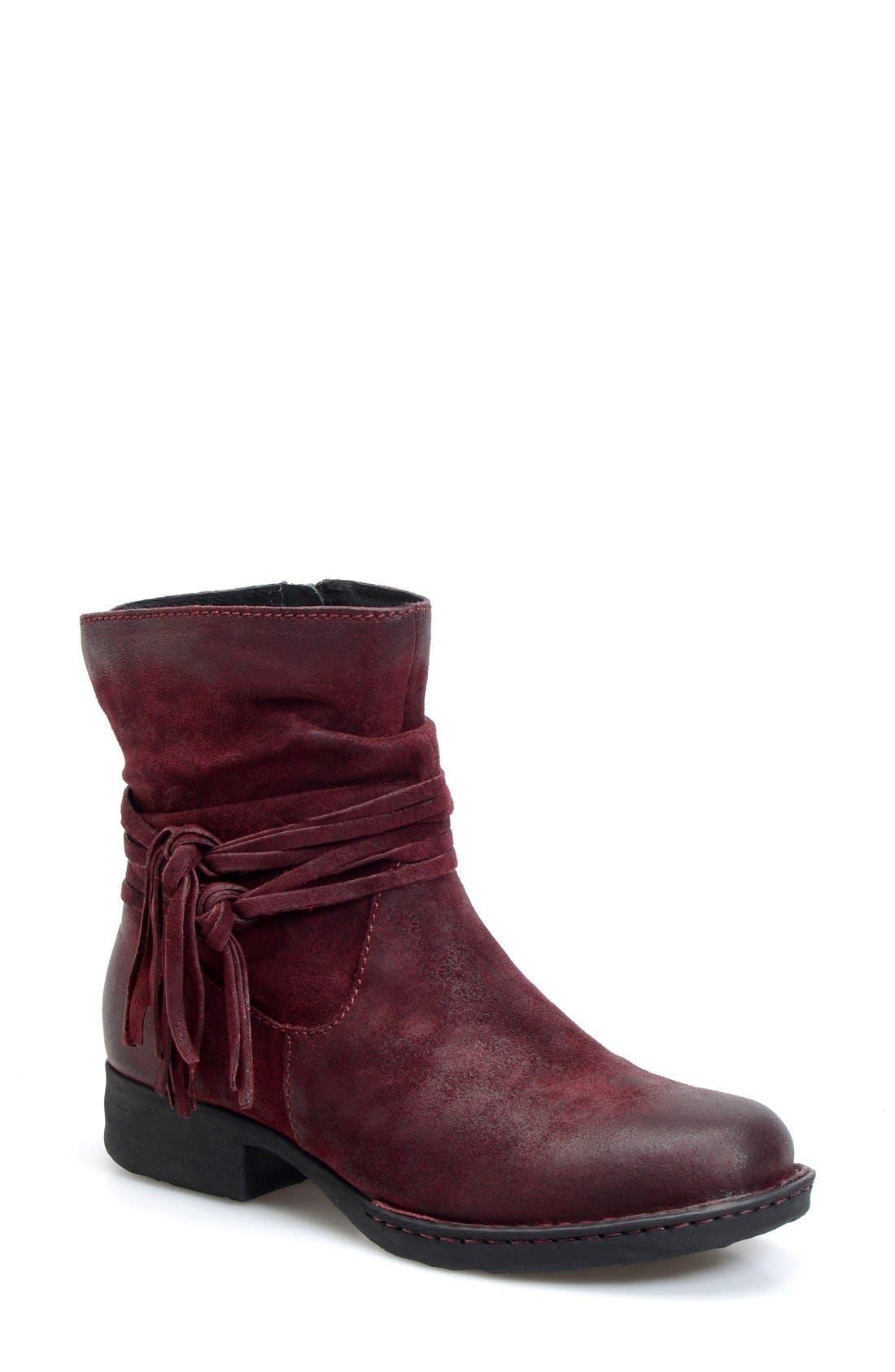 'Cross' Bootie,                         Main,                         color, Amarena Distressed Leather