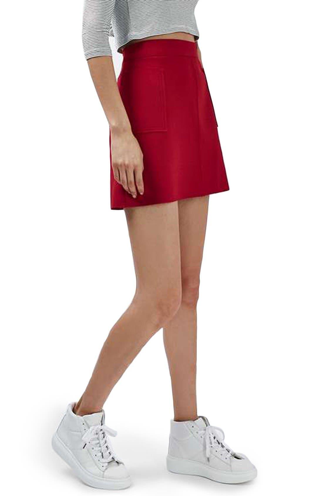 Main Image - Topshop Patch Pocket Crepe Miniskirt
