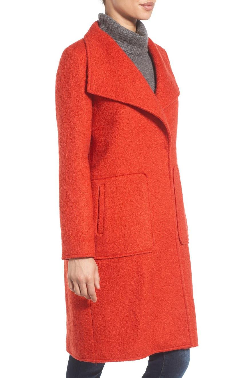 Bernardo Textured Long Coat (Regular & Petite) | Nordstrom