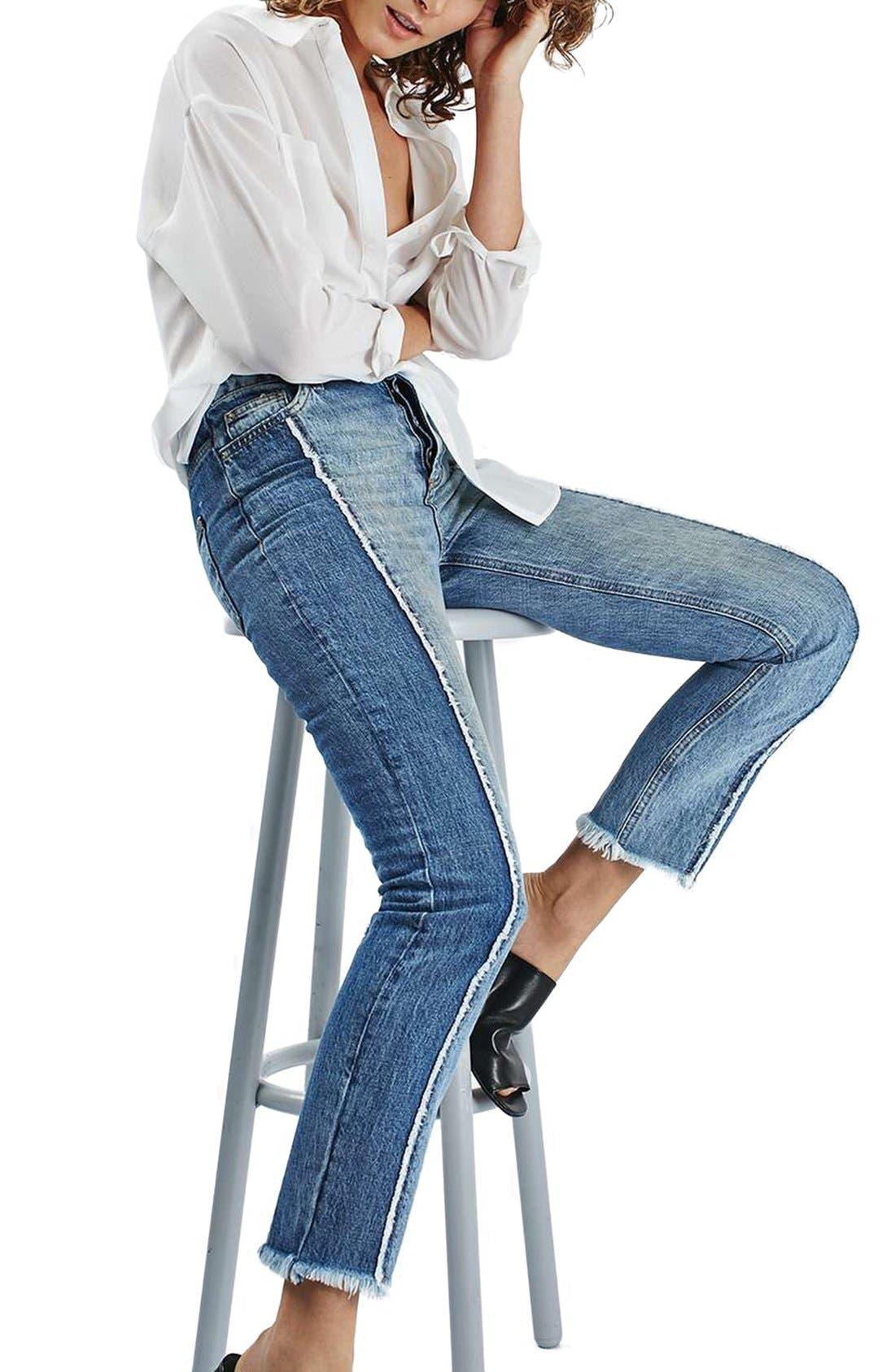 Alternate Image 4  - Topshop Panel Crop Straight Leg Jeans