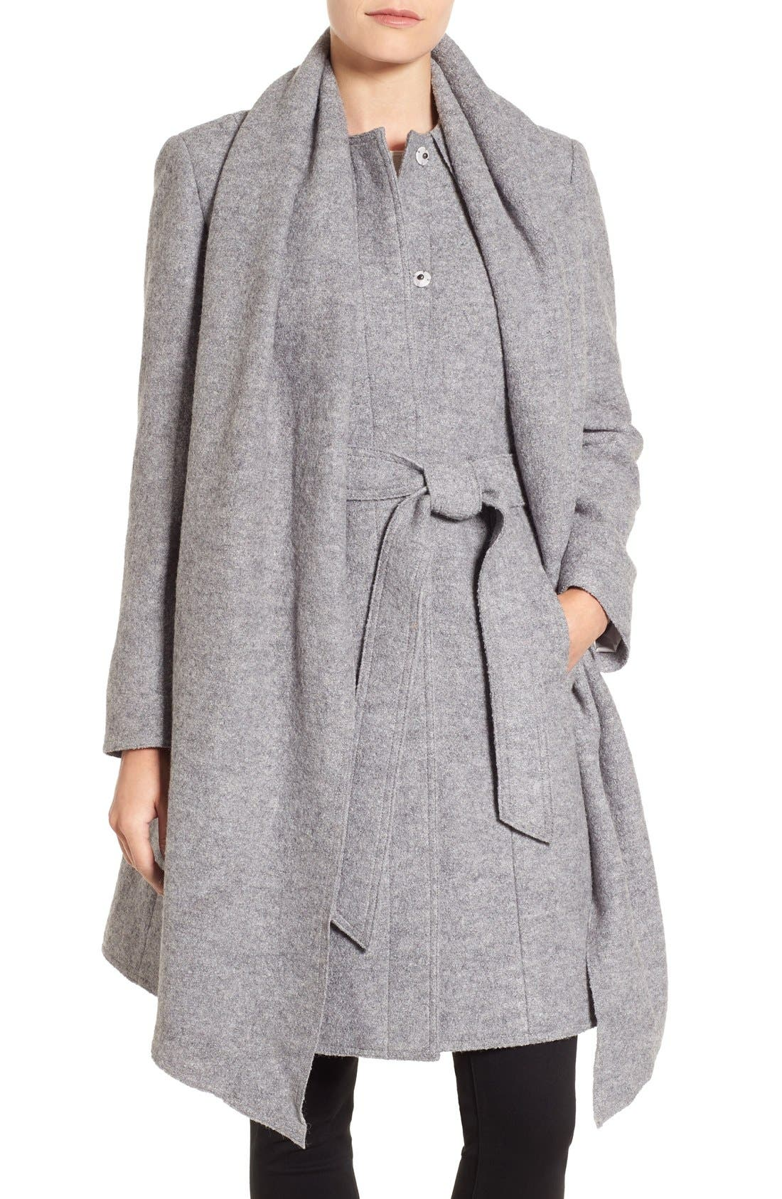 Belted Scarf Front Coat,                         Main,                         color, Light Grey