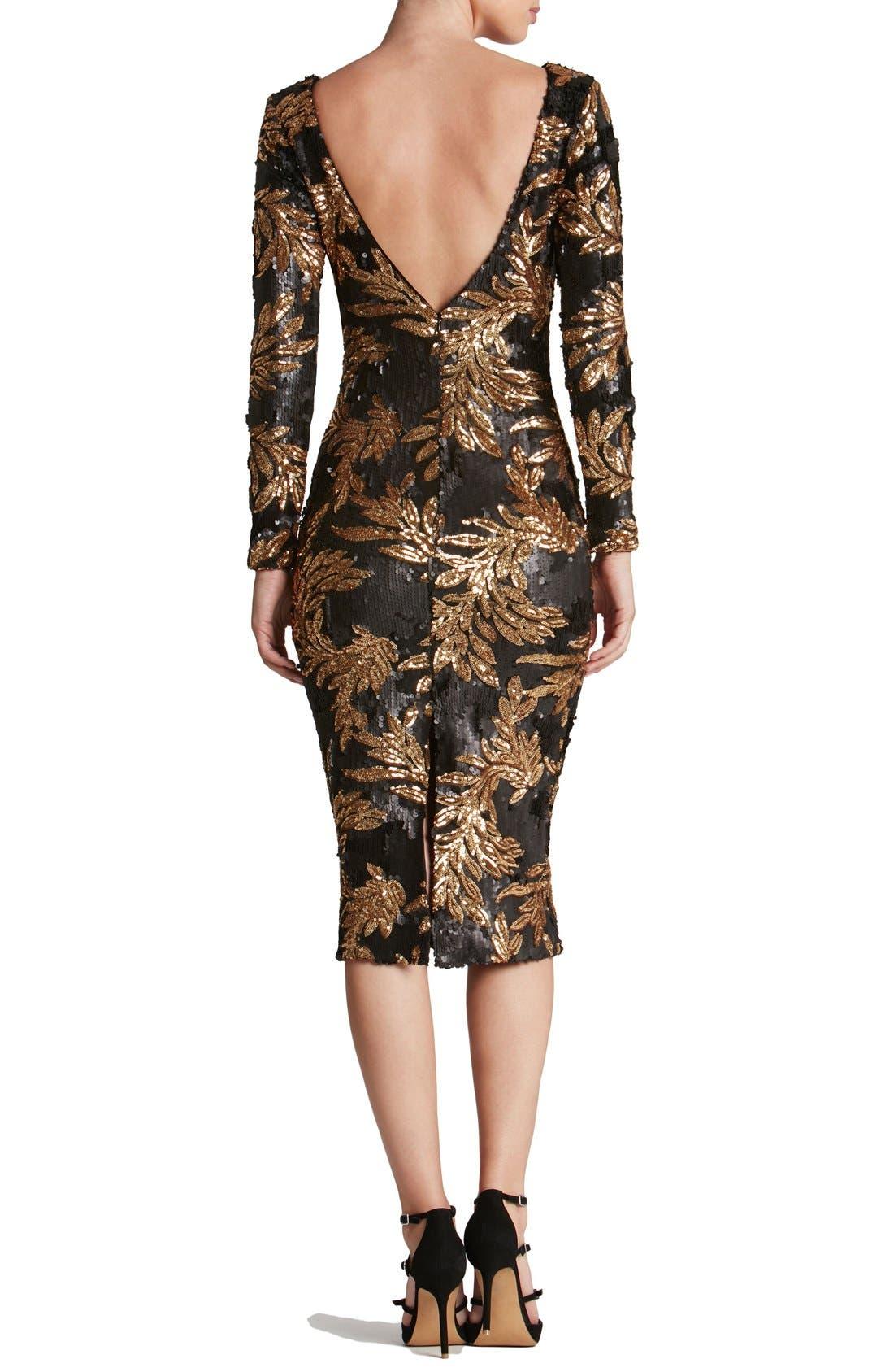 Alternate Image 2  - Dress the Population 'Emery' Scoop Back Two-Tone Sequin Sheath Dress
