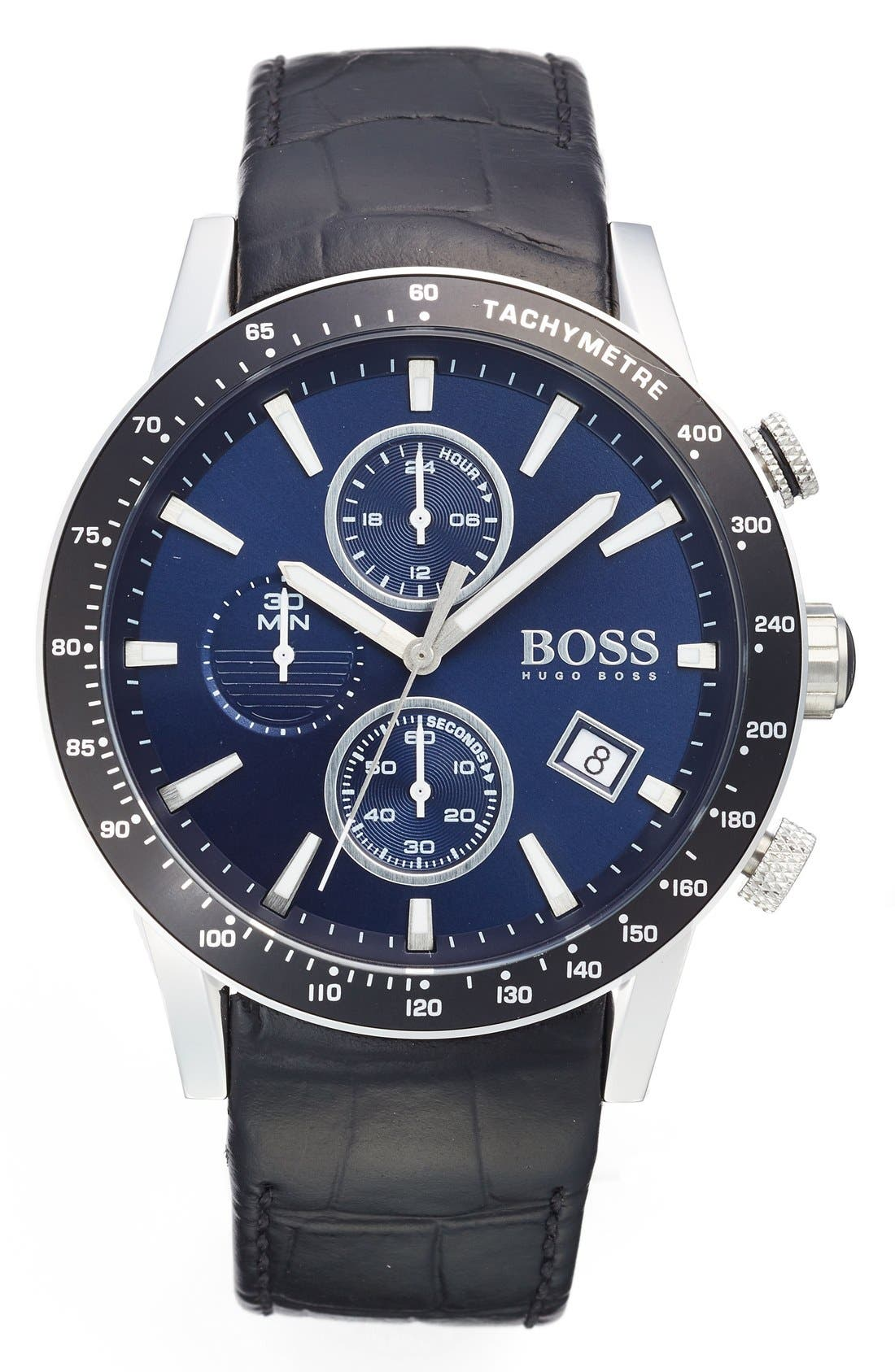 BOSS 'Rafale' Chronograph Leather Strap Watch, 44mm,                         Main,                         color, Blue/ Black