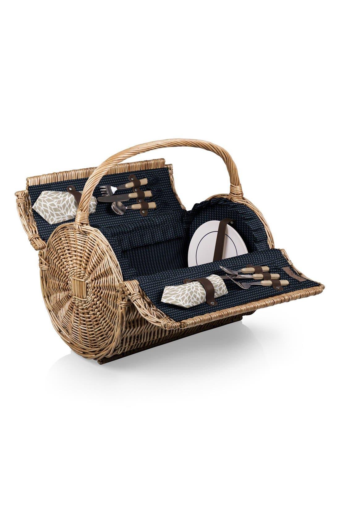 Wicker Barrel Picnic Basket,                         Main,                         color, Blue