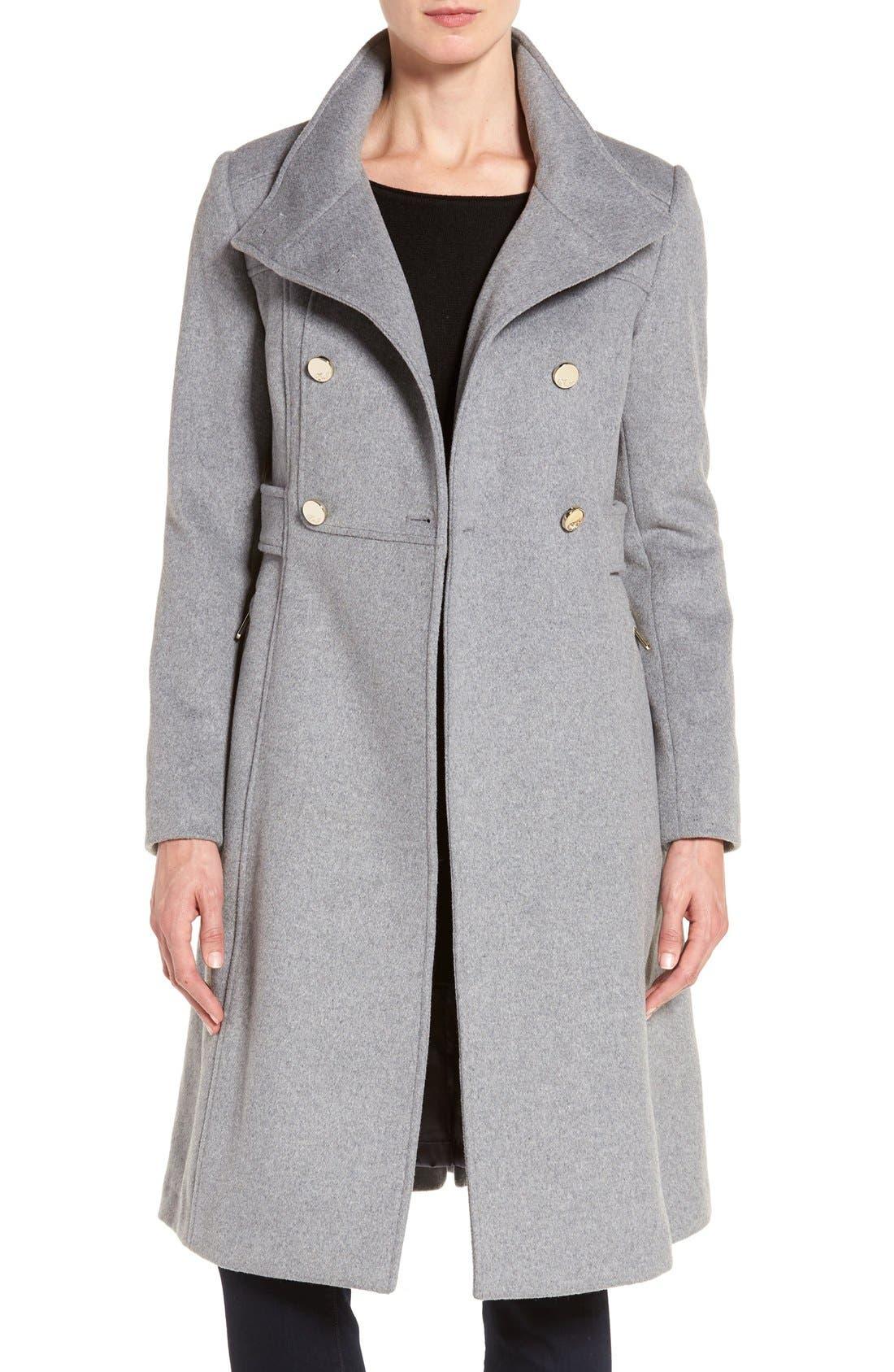 Eliza J Wool Blend Long Military Coat (Regular & Petite)