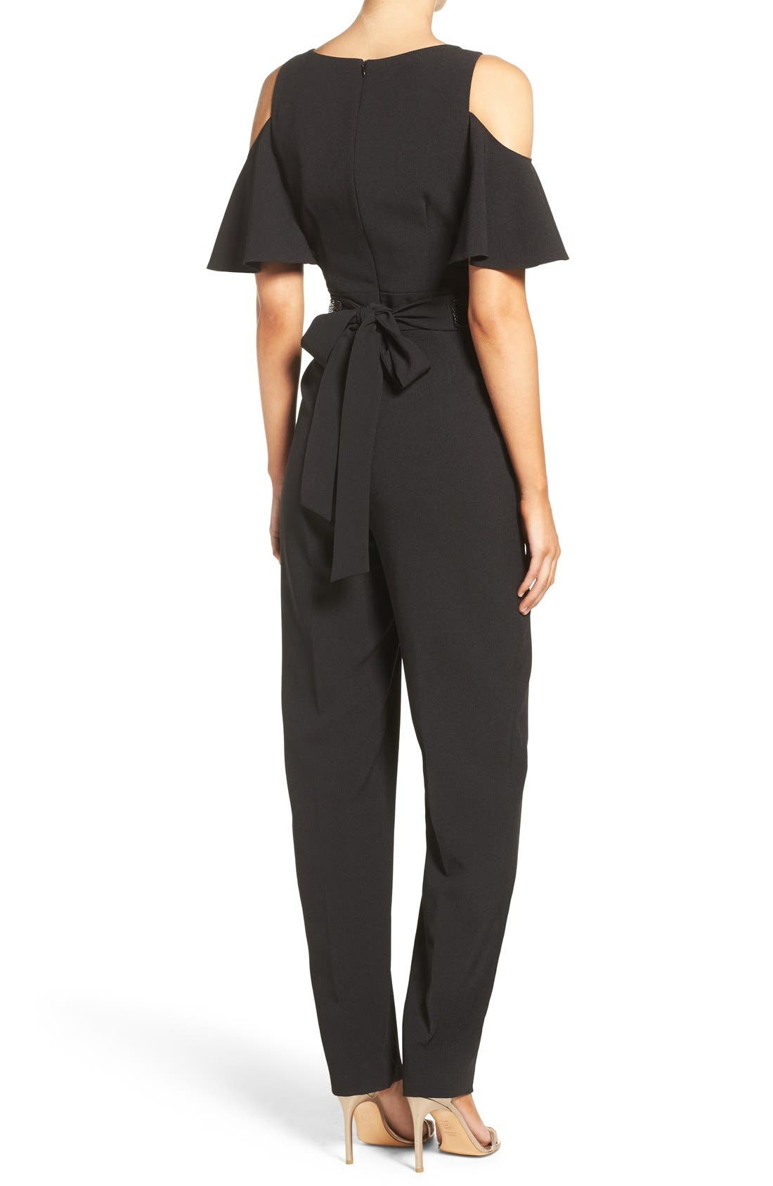Alternate Image 3  - Eliza J Cold Shoulder Jumpsuit (Regular & Petite)