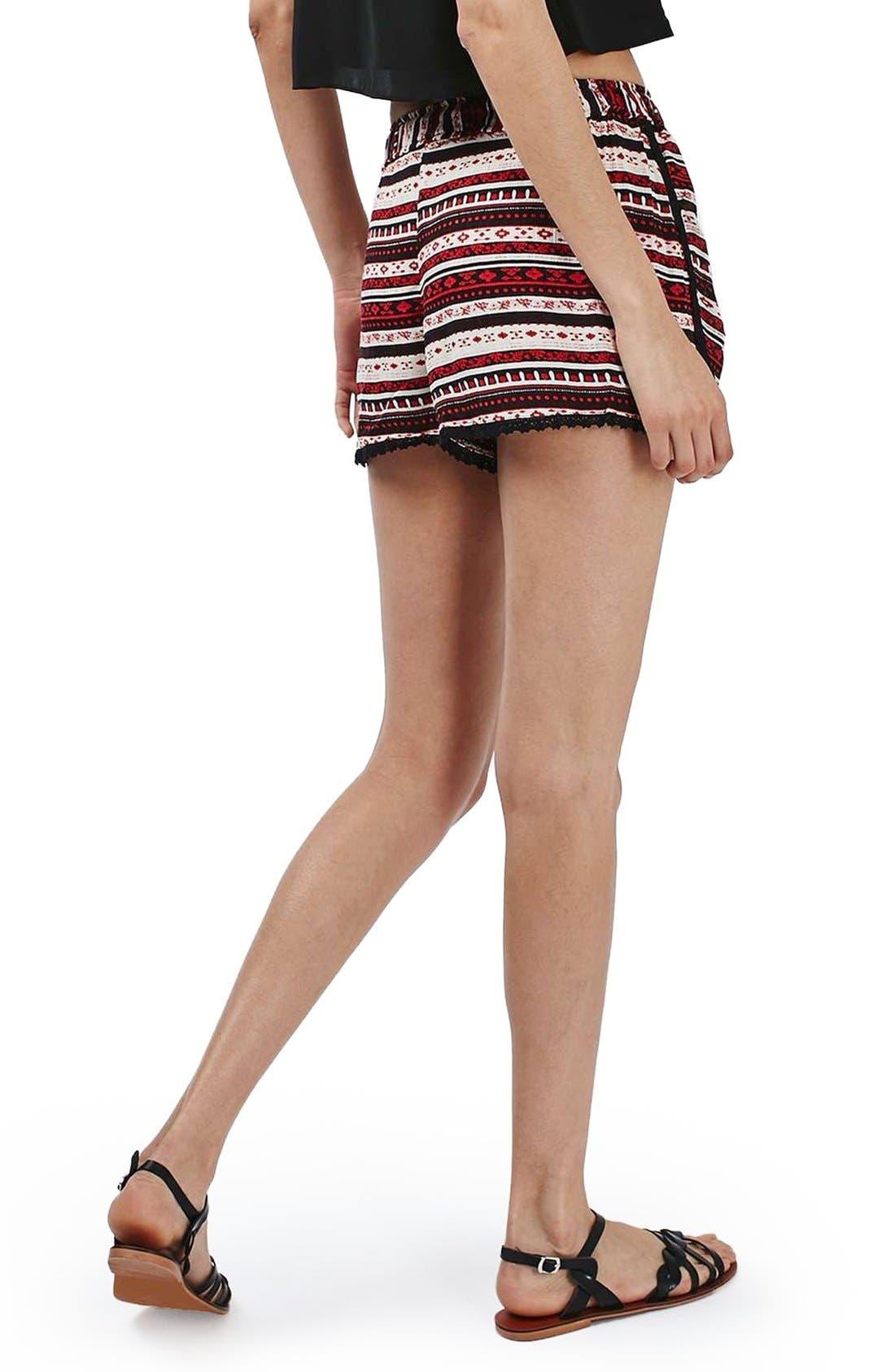 Alternate Image 2  - Topshop Crochet Trim Southwest Stripe Shorts