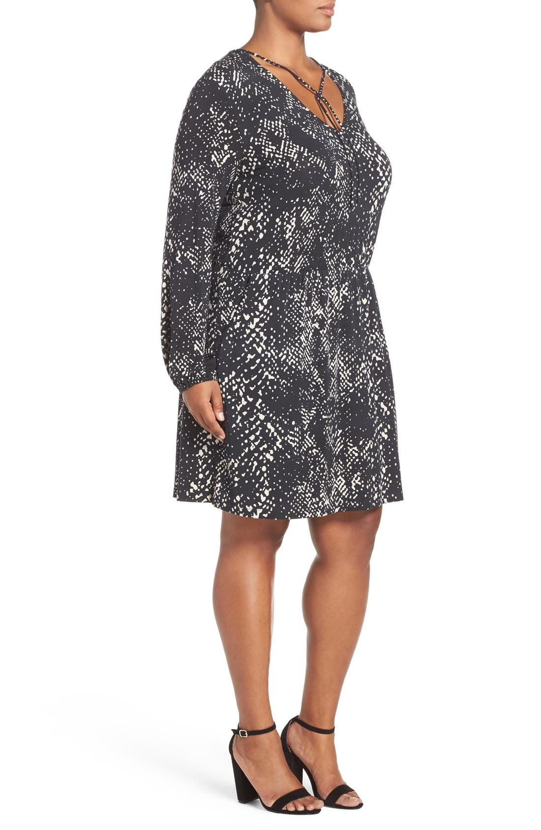 'Robby' Print Jersey V-Neck Dress,                             Alternate thumbnail 2, color,                             Abstract Python