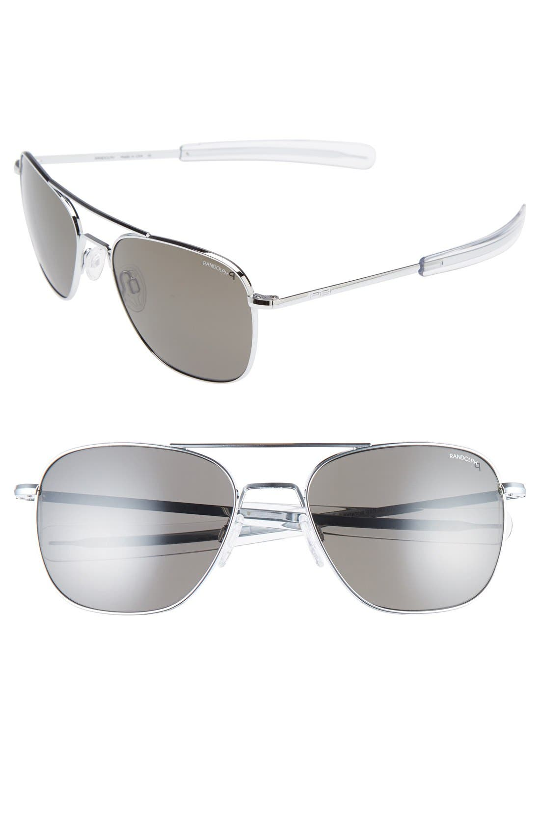 58mm Polarized Aviator Sunglasses,                         Main,                         color, Bright Chrome
