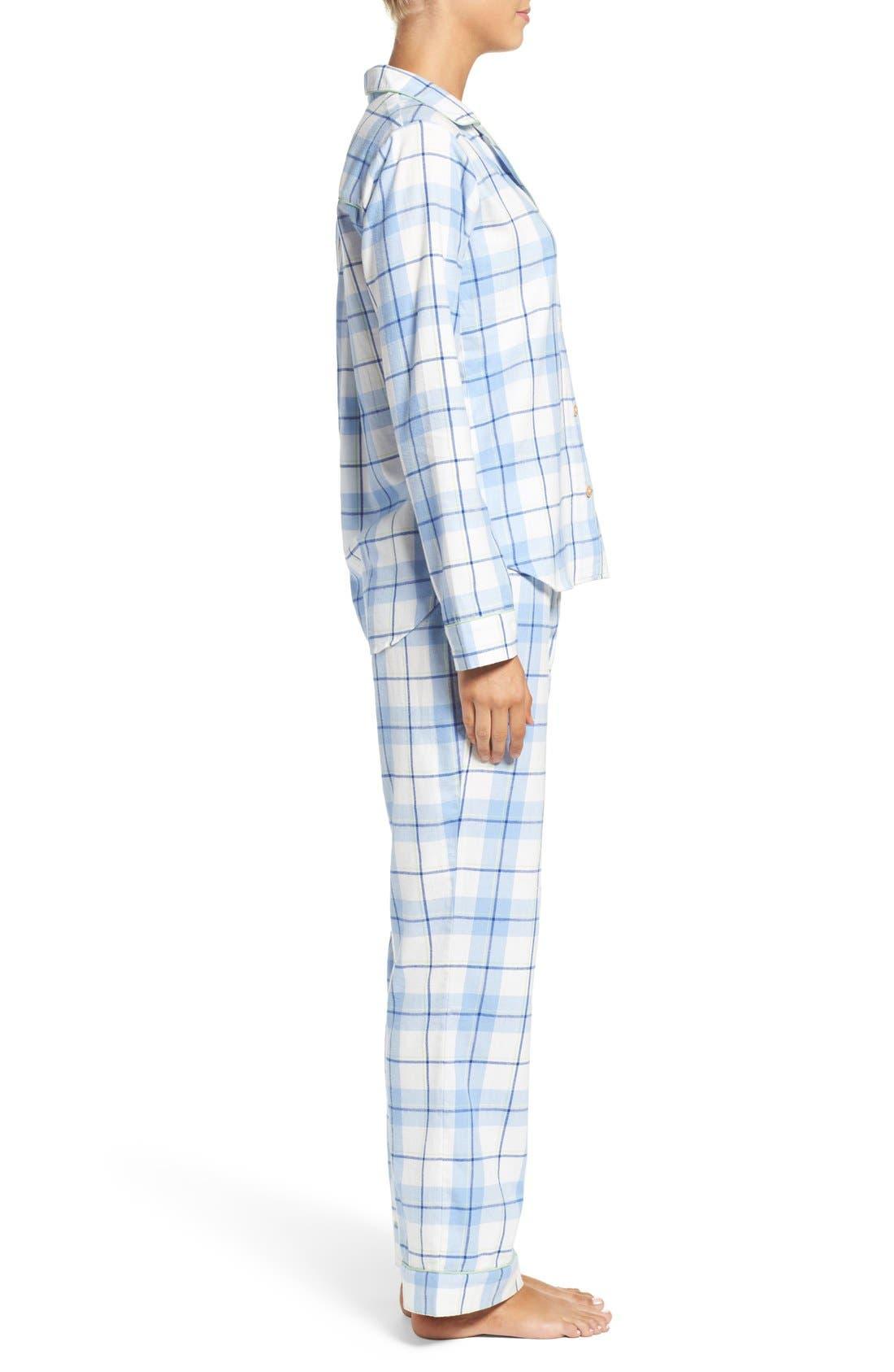 'Raven' Plaid Cotton Pajamas,                             Alternate thumbnail 3, color,                             Pajama Blue