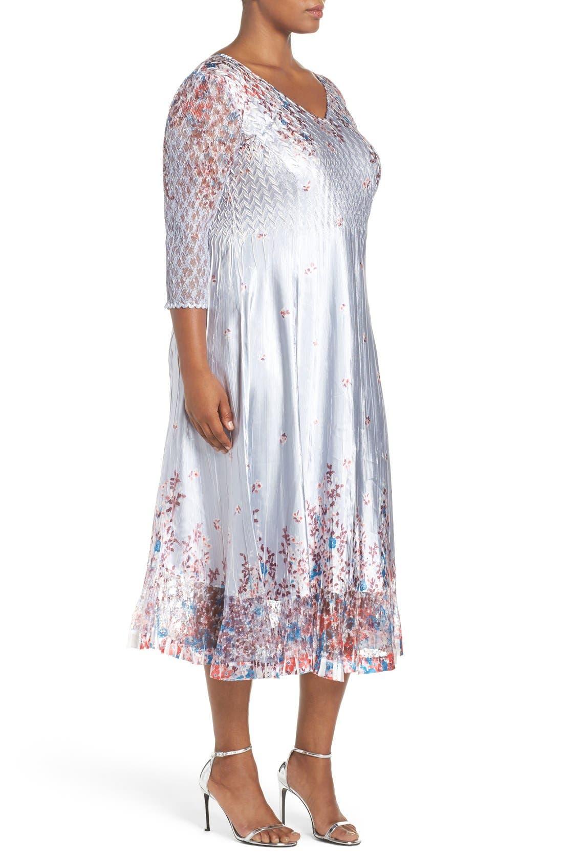 Print Lace & Charmeuse V-Neck Dress,                             Alternate thumbnail 3, color,                             Wild Aster