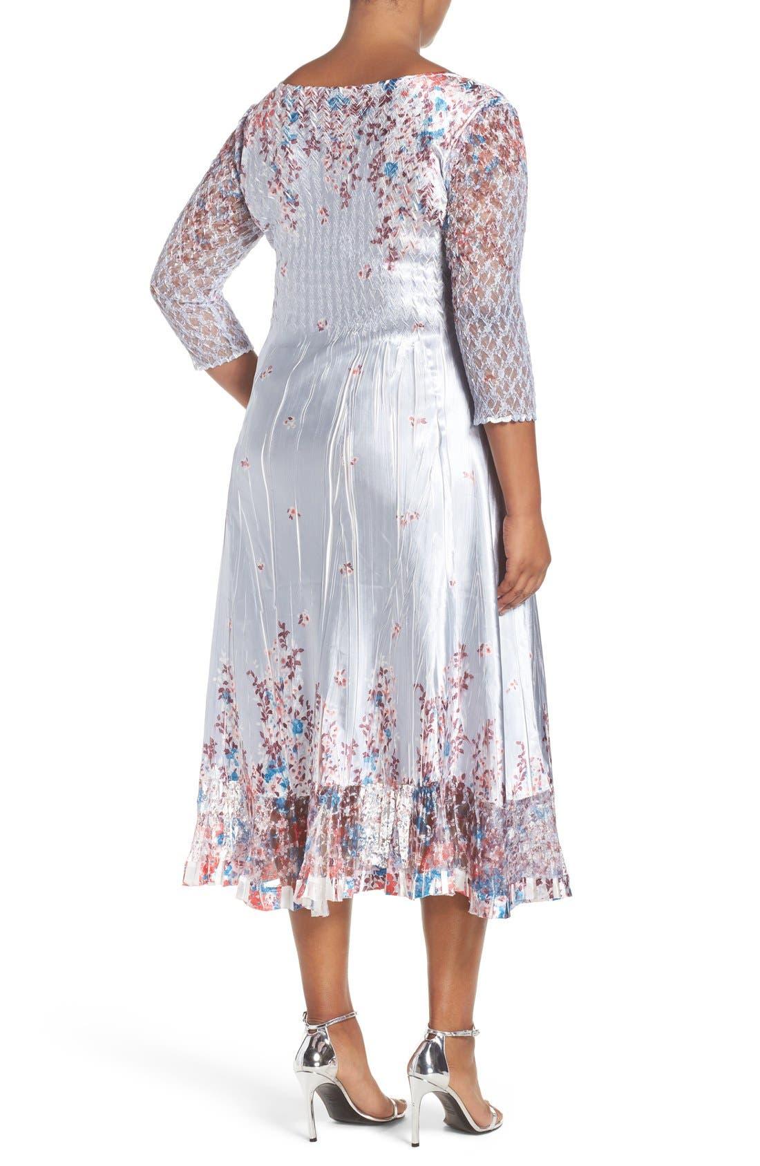 Print Lace & Charmeuse V-Neck Dress,                             Alternate thumbnail 2, color,                             Wild Aster