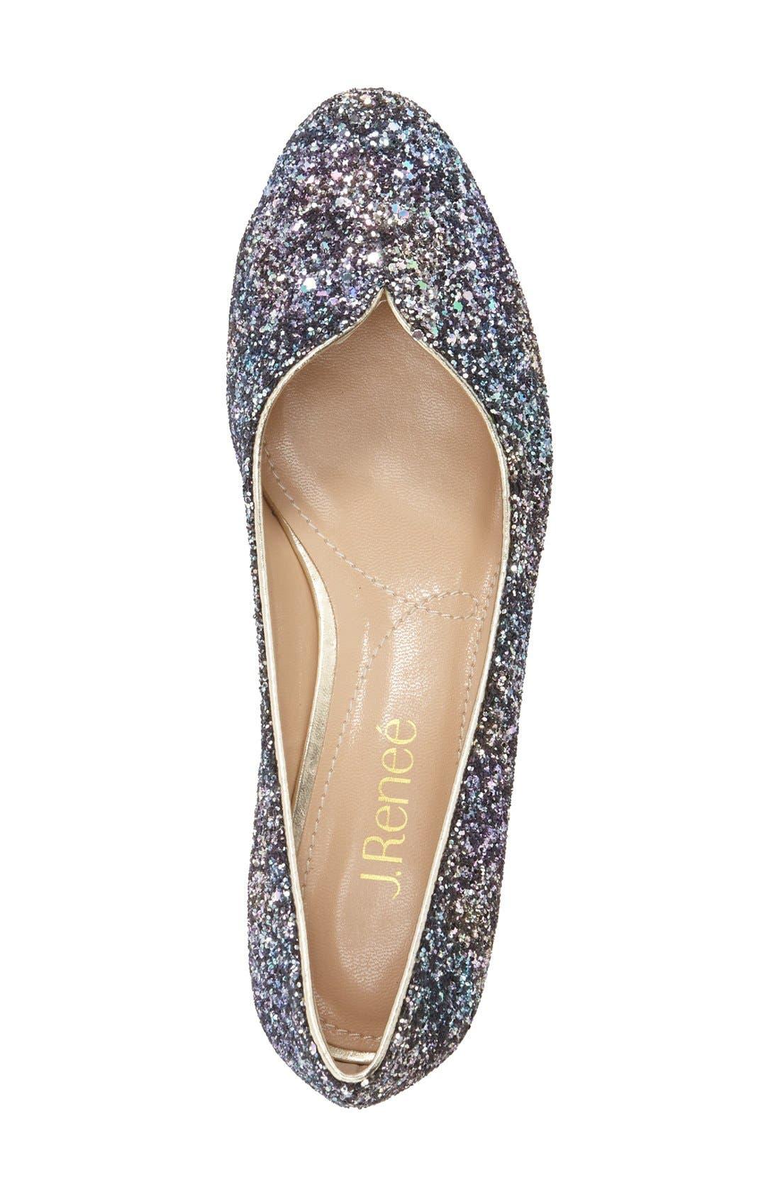 'Bambalina' Block Heel Glitter Pump,                             Alternate thumbnail 3, color,                             Blue/ Gold Glitter Fabric