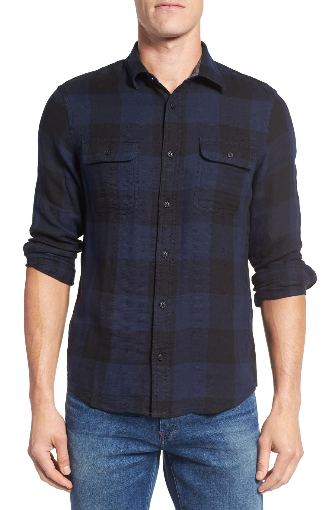 Main Image - Nordstrom Men's Shop Trim Fit Buffalo Plaid Flannel Shirt Jacket