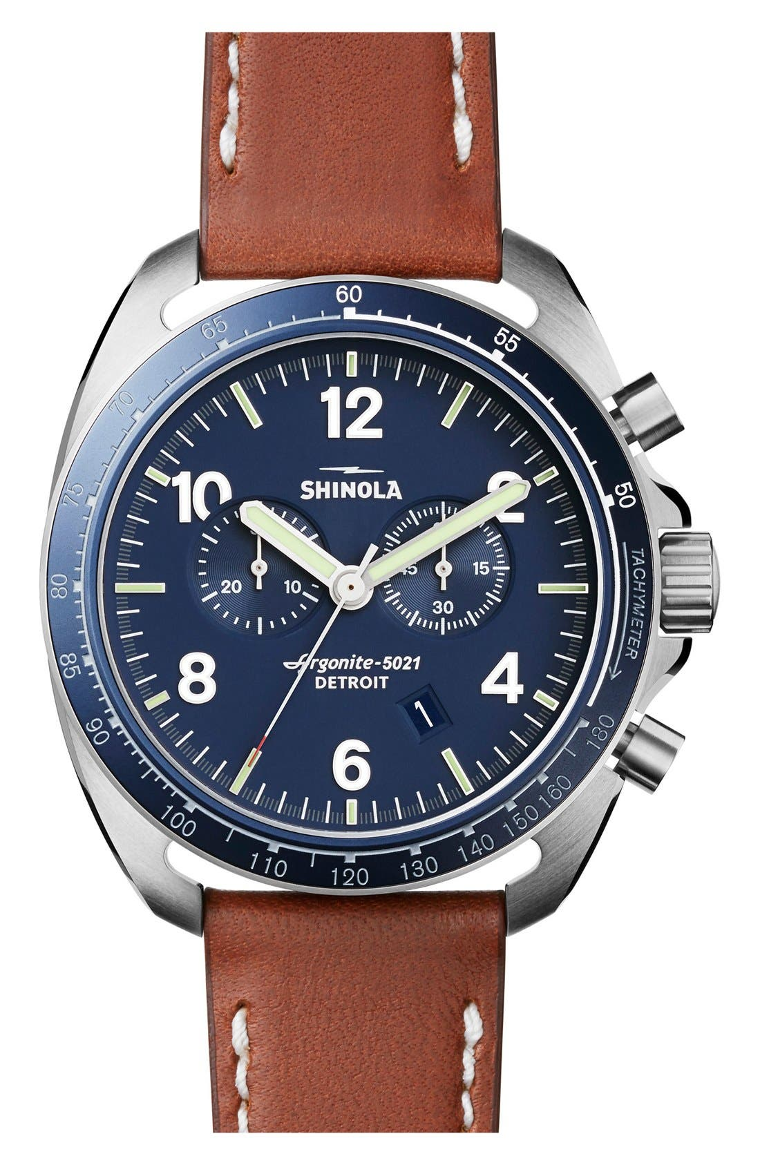 'The Rambler' Chronograph Leather Strap Watch, 44mm,                         Main,                         color, Brown/ Blue