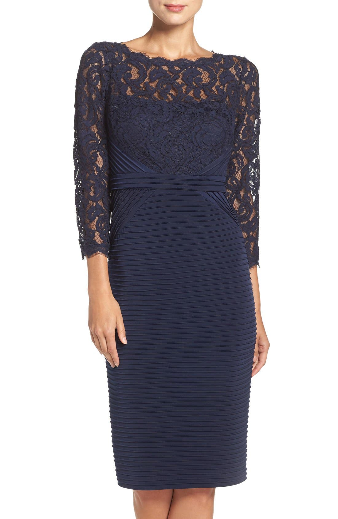 Lace & Jersey Sheath Dress,                         Main,                         color, Midnight