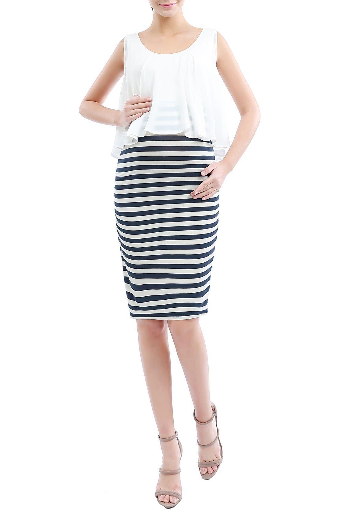 'Anastasia' Popover Maternity Dress,                             Main thumbnail 1, color,                             Navy/ Ivory