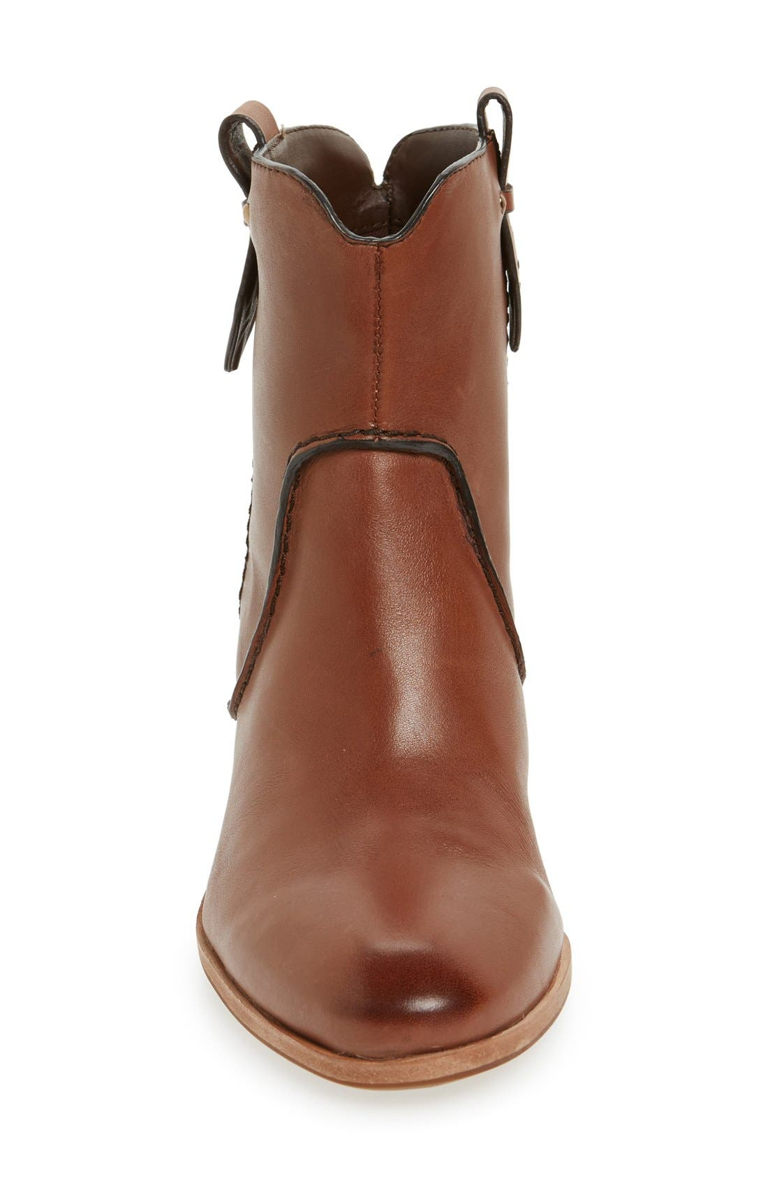 'Sophia' Pull-On Bootie,                             Alternate thumbnail 3, color,                             Whiskey Leather