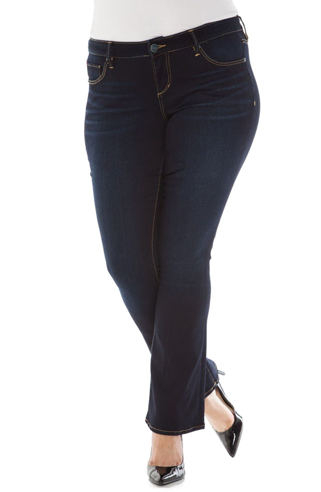 Low rise boot cut plus size jeans