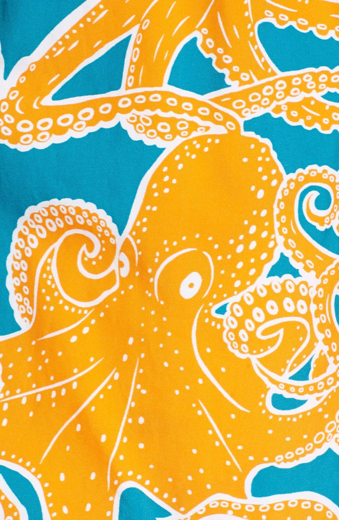 Octopus Print Swim Trunks,                             Alternate thumbnail 5, color,                             Kumquat