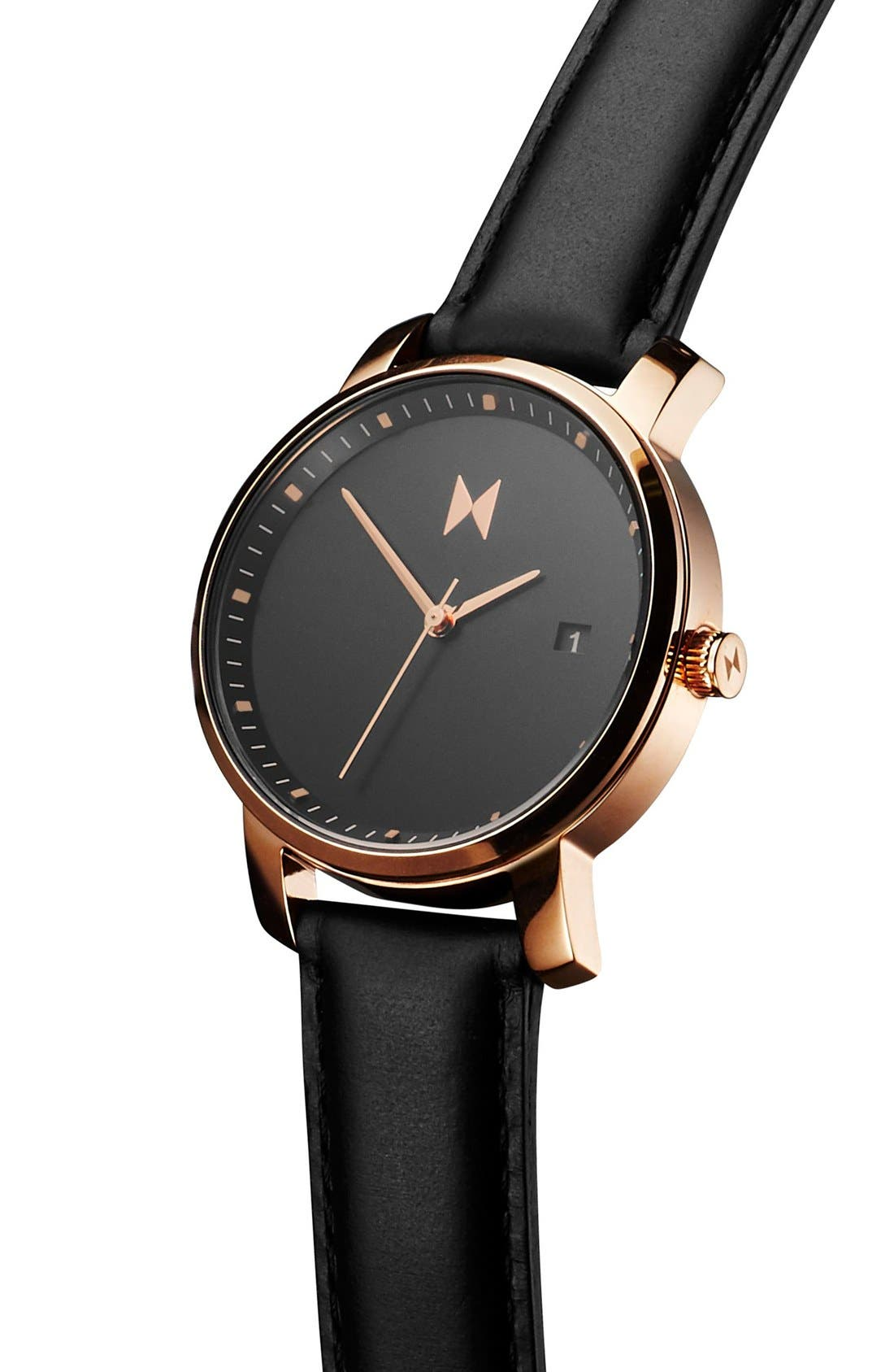 Leather Strap Watch, 38mm,                             Alternate thumbnail 4, color,                             Black/ Rose Gold
