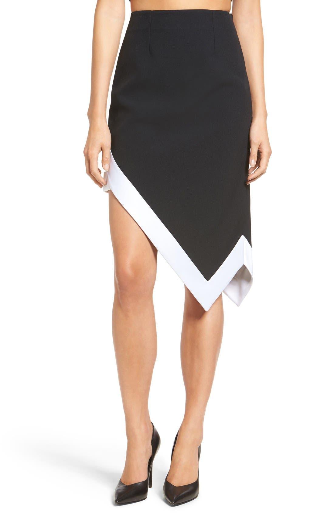 Alternate Image 1 Selected - KENDALL + KYLIE Satin Trim Asymmetrical Skirt