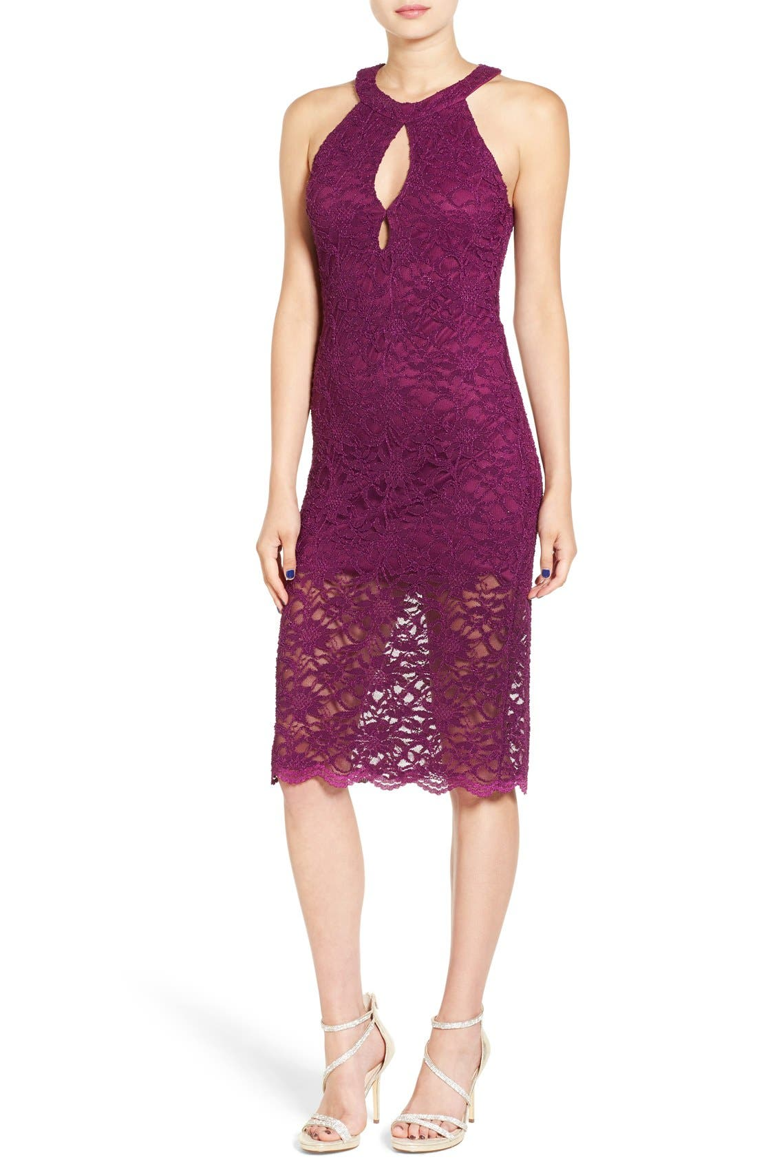 Alternate Image 1 Selected - Jump Apparel Lace Midi Body-Con Dress