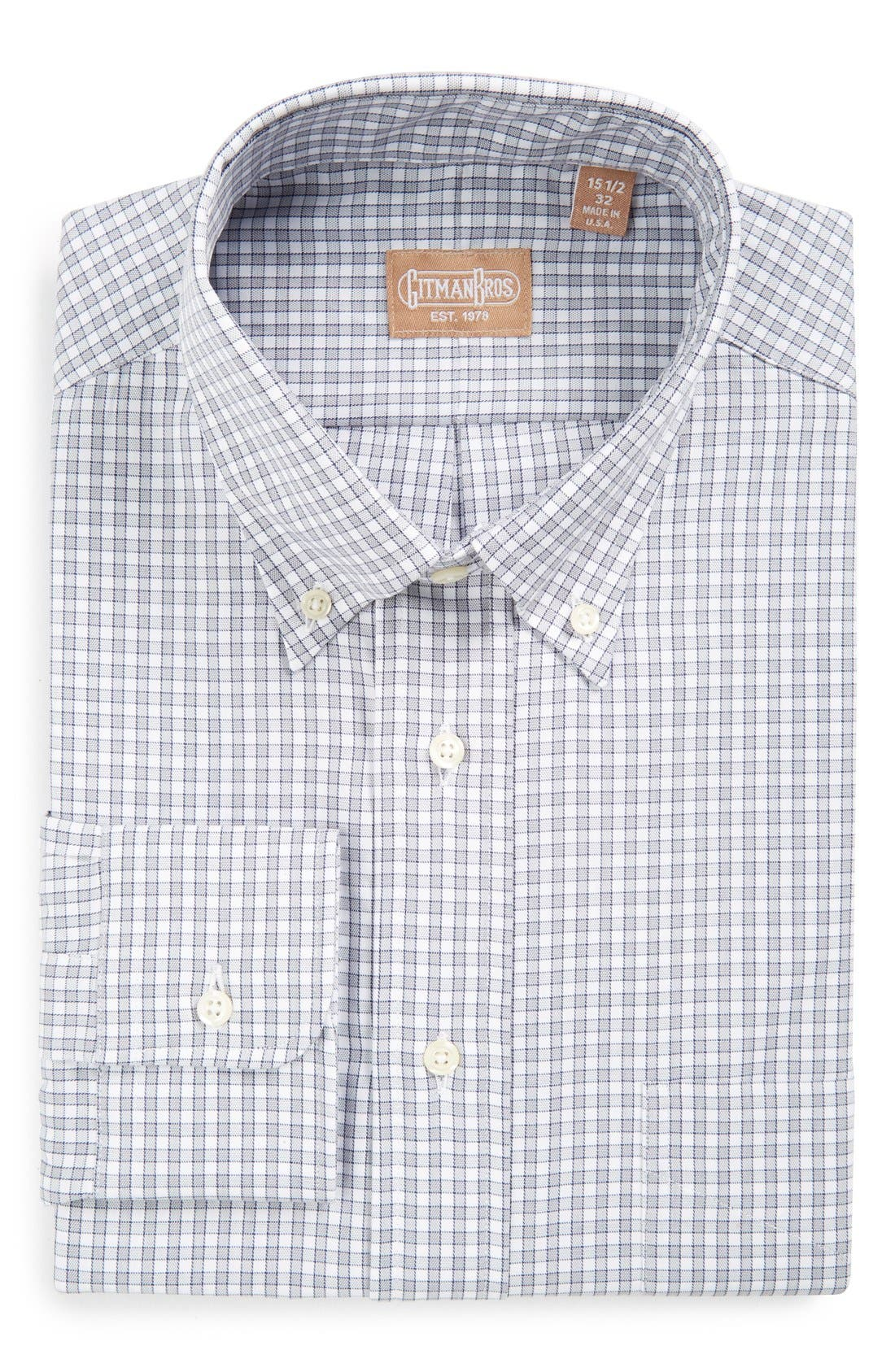 Regular Fit Gingham Check Dress Shirt,                         Main,                         color, Grey