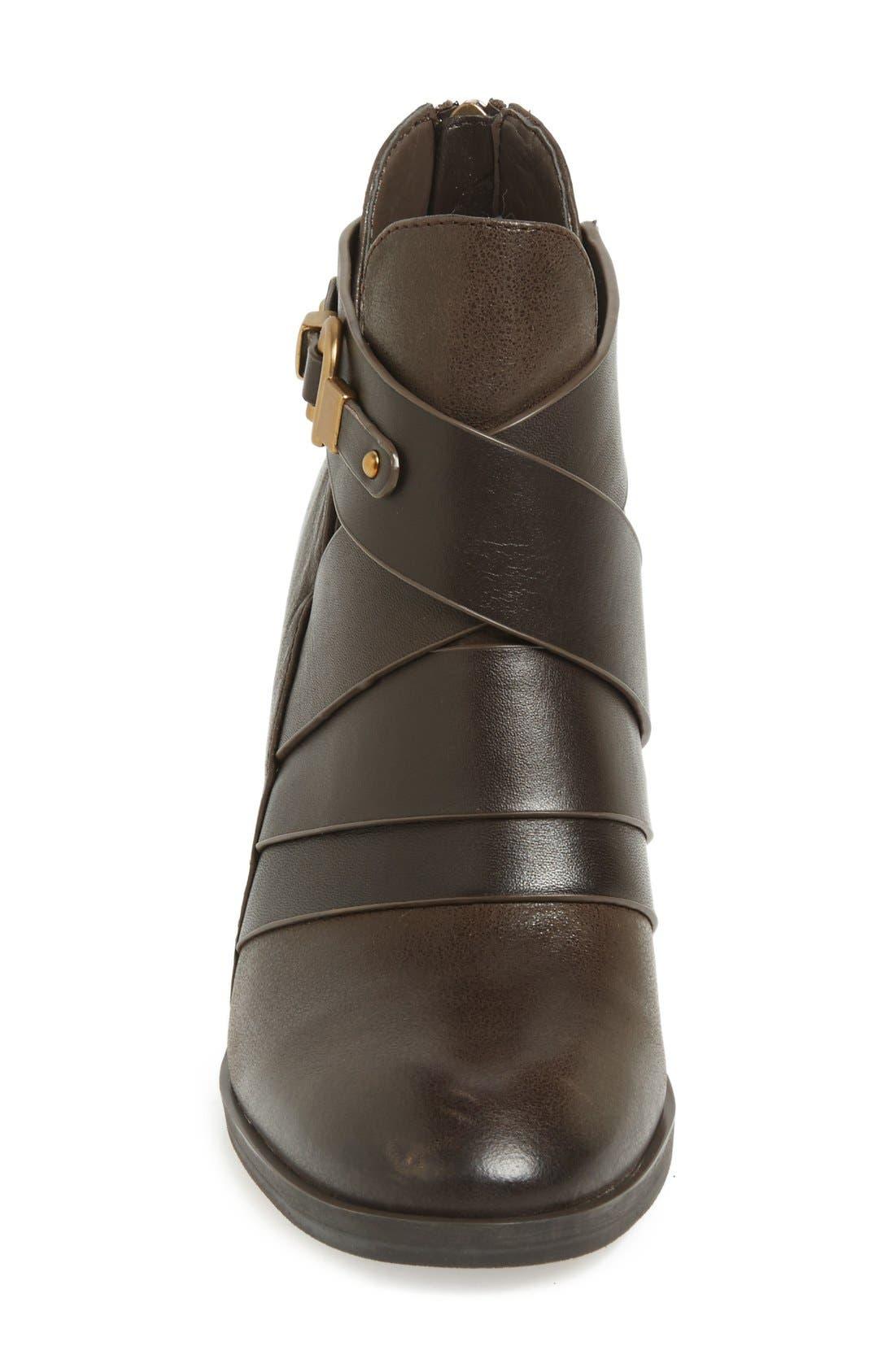 Isolà 'Ladora' Block Heel Bootie,                             Alternate thumbnail 3, color,                             Dark Brown Leather