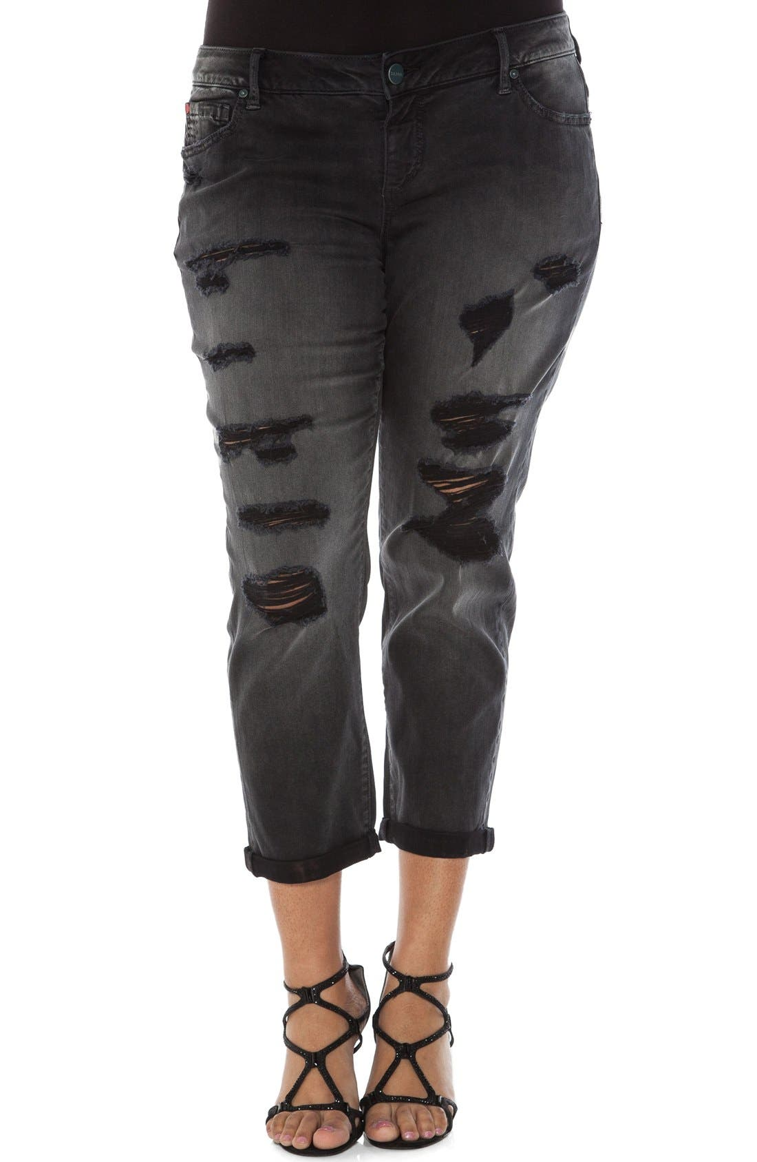 Main Image - SLINK Jeans Distressed Roll Cuff Stretch Boyfriend Jeans (Plus Size)