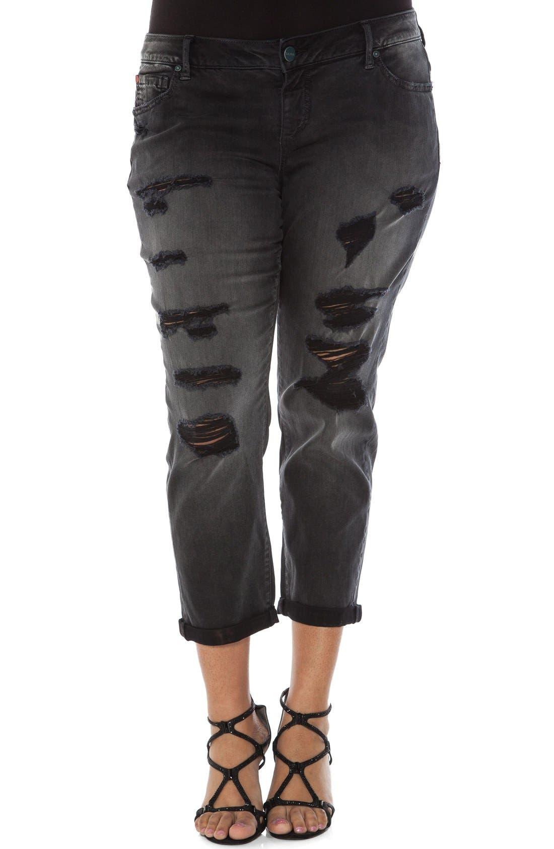 Distressed Roll Cuff Stretch Boyfriend Jeans,                         Main,                         color, Emily