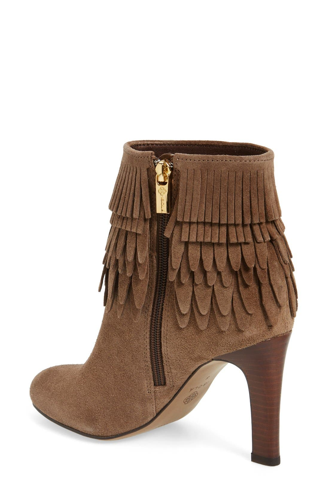 'Layton' Fringe Bootie,                             Alternate thumbnail 2, color,                             Havana Brown Suede