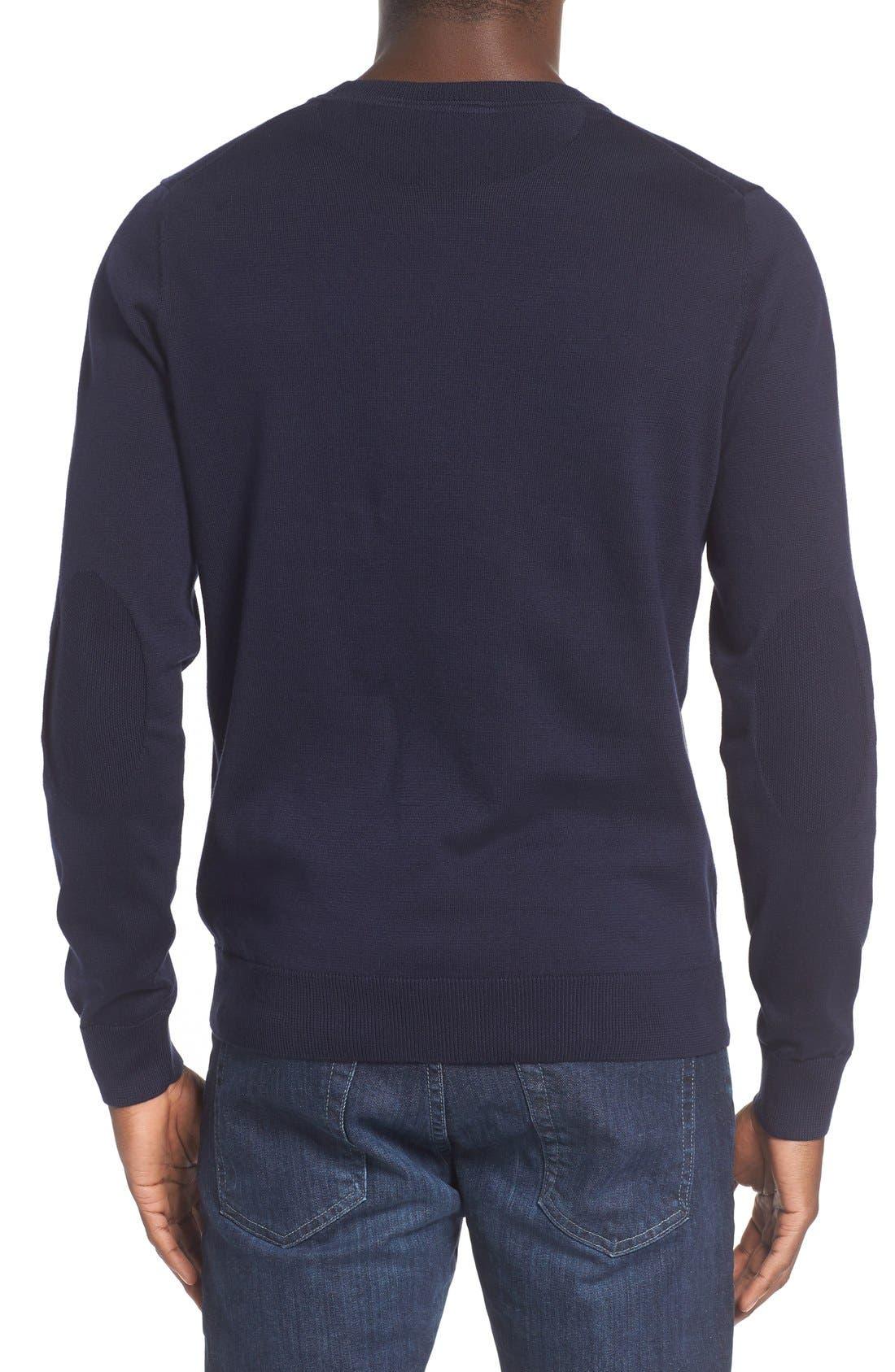 Jersey Knit Crewneck Sweater,                             Alternate thumbnail 2, color,                             Navy Blue