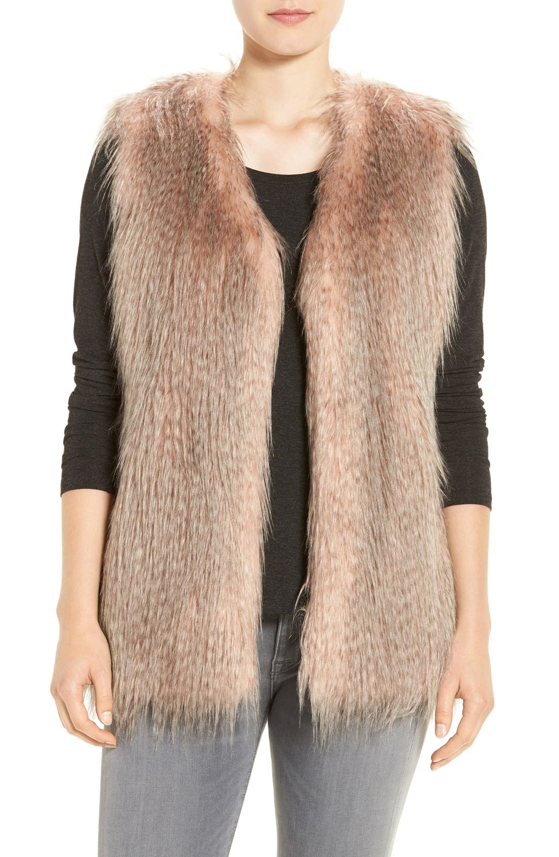Collarless Faux Fur Vest,                         Main,                         color, Pink Multi