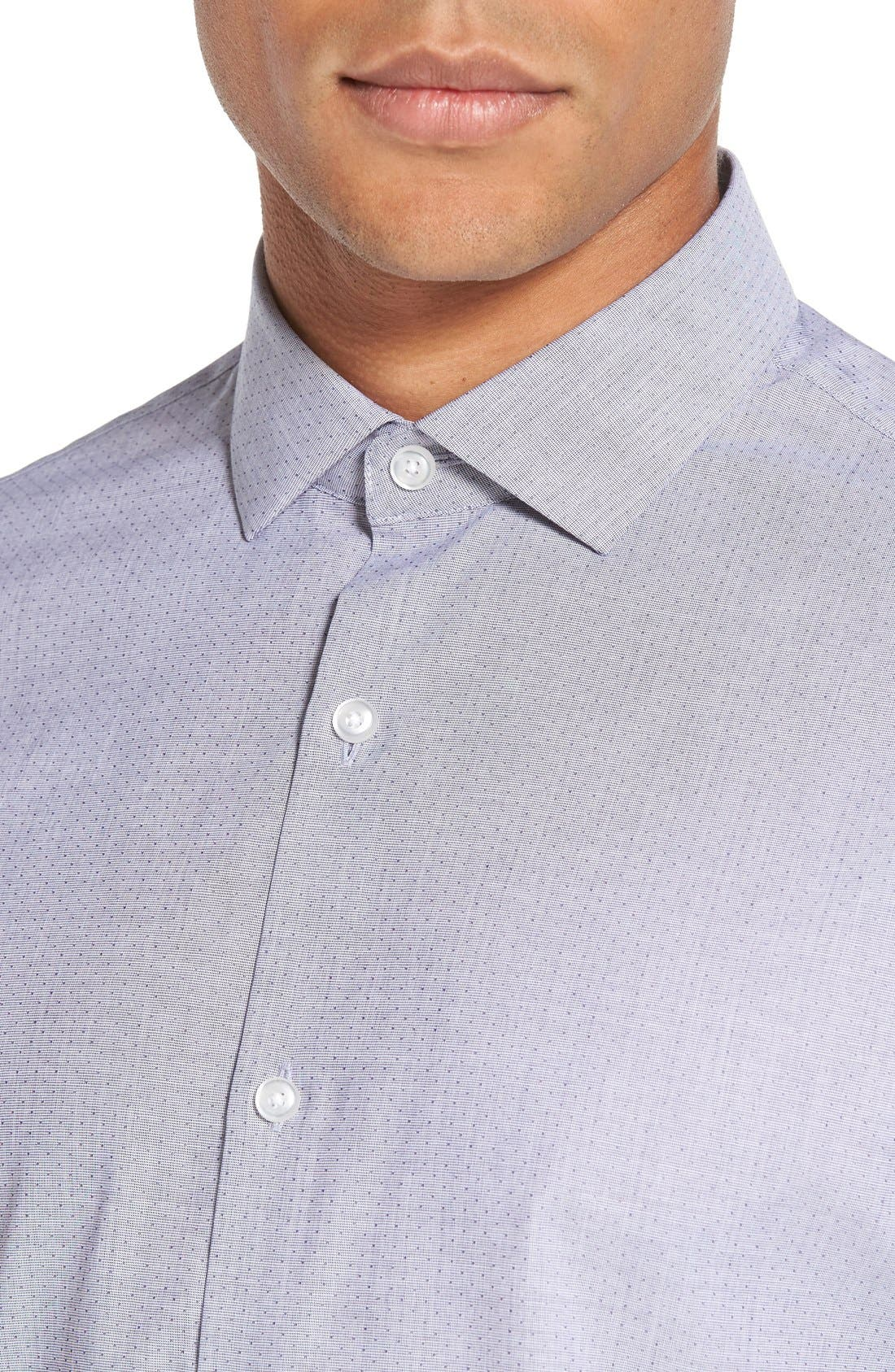 Trim Fit End on End Dobby Sport Shirt,                             Alternate thumbnail 4, color,                             Blue Xenon Eoe Dobby