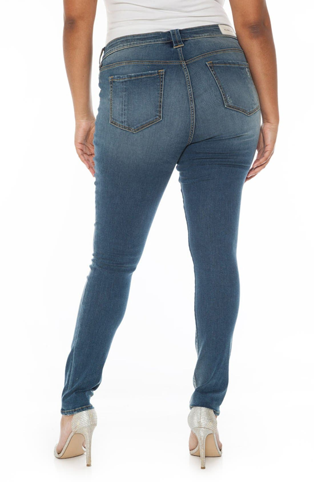 Alternate Image 2  - SLINK Jeans Ripped Stretch Skinny Jeans (Plus Size)