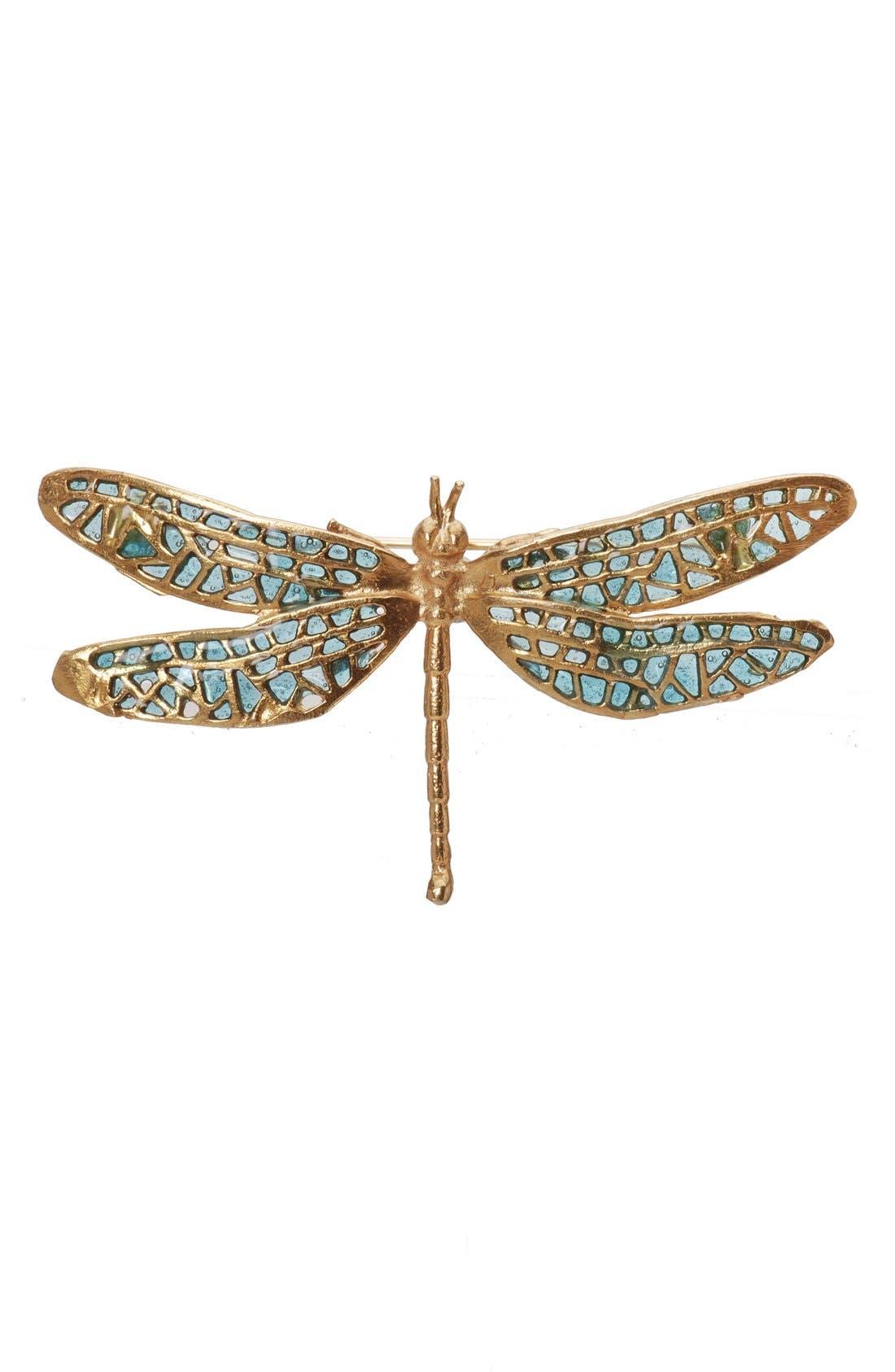 'Damsel Fly' Brooch,                             Main thumbnail 1, color,                             Aqua/ Gold