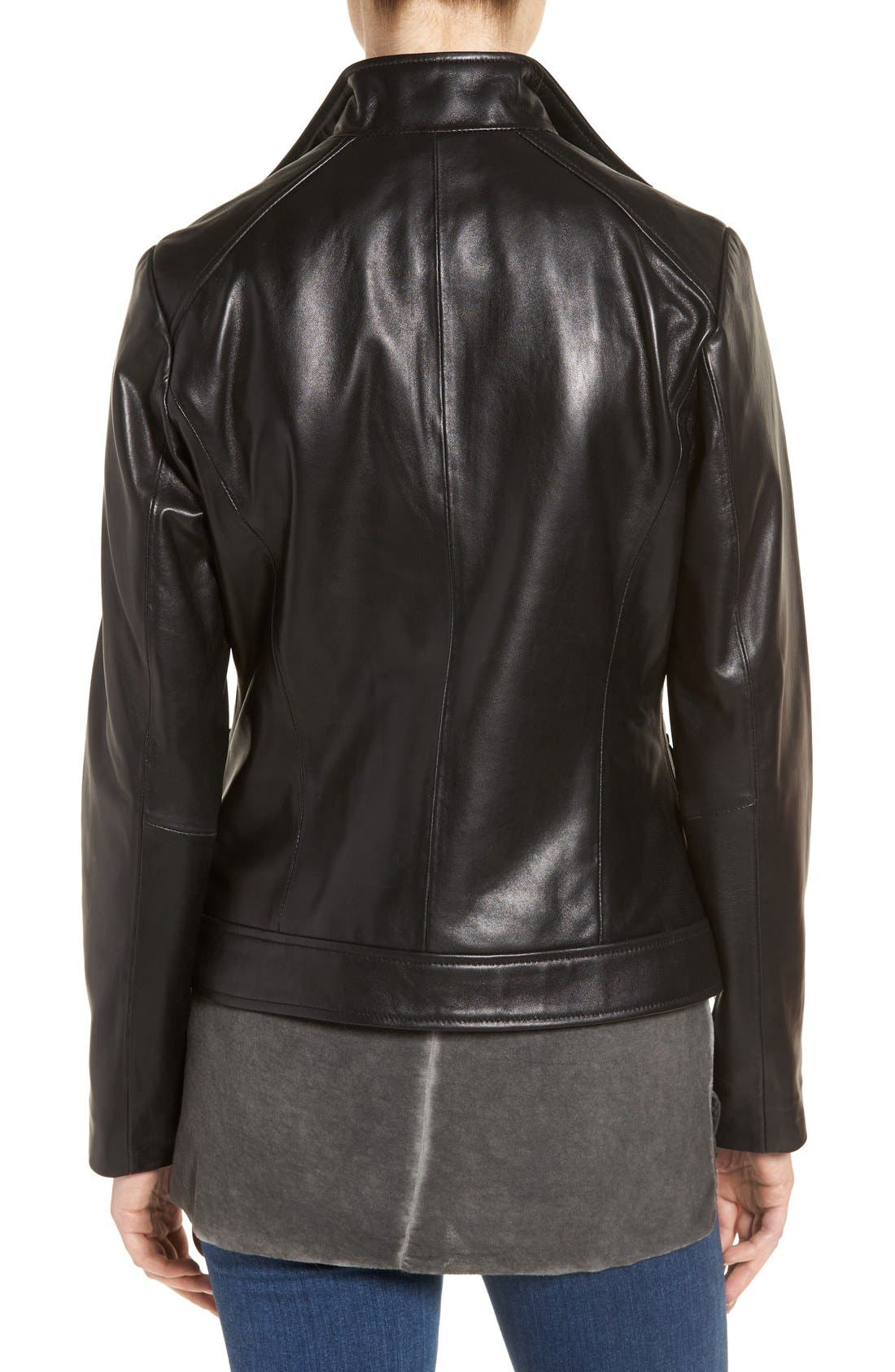 Wing Collar Leather Jacket,                             Alternate thumbnail 2, color,                             Black