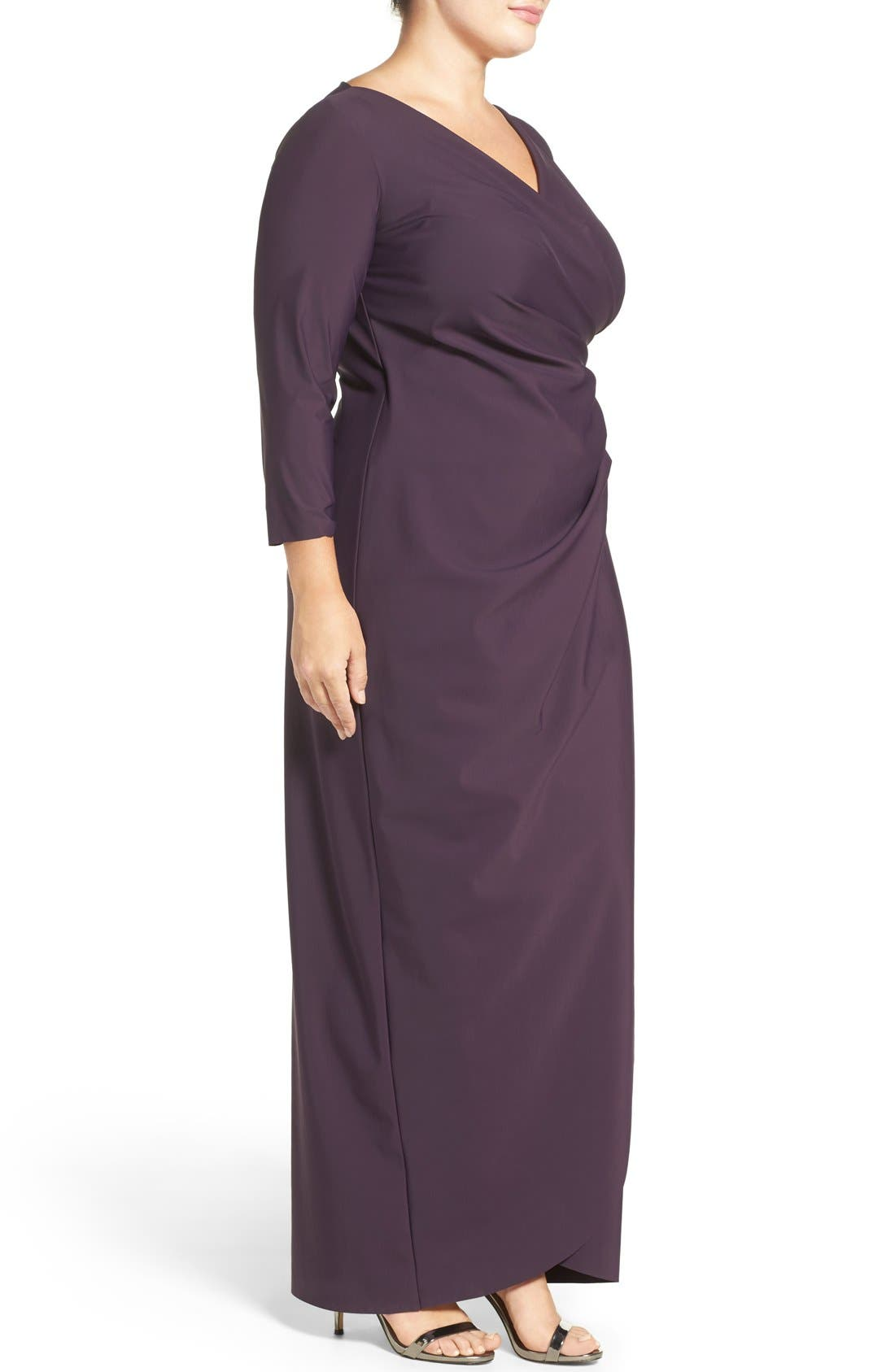 Alternate Image 3  - Alex Evenings Embellished Side Ruched Jersey Gown (Plus Size)