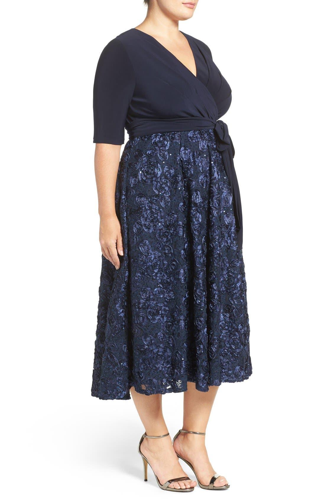 Tea Length Jersey & Rosette Lace Dress,                             Alternate thumbnail 4, color,                             Navy