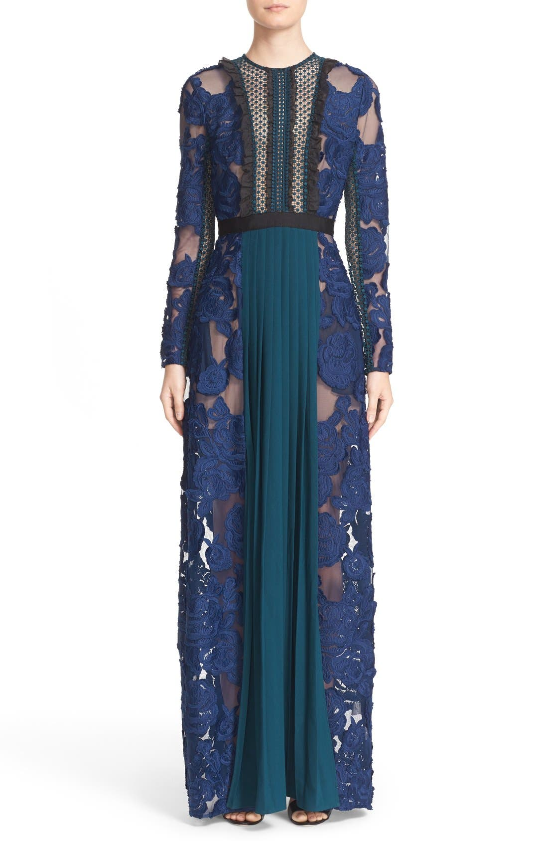 Alternate Image 1 Selected - Self-Portrait 'Thea' Lace & Crepe Maxi Dress